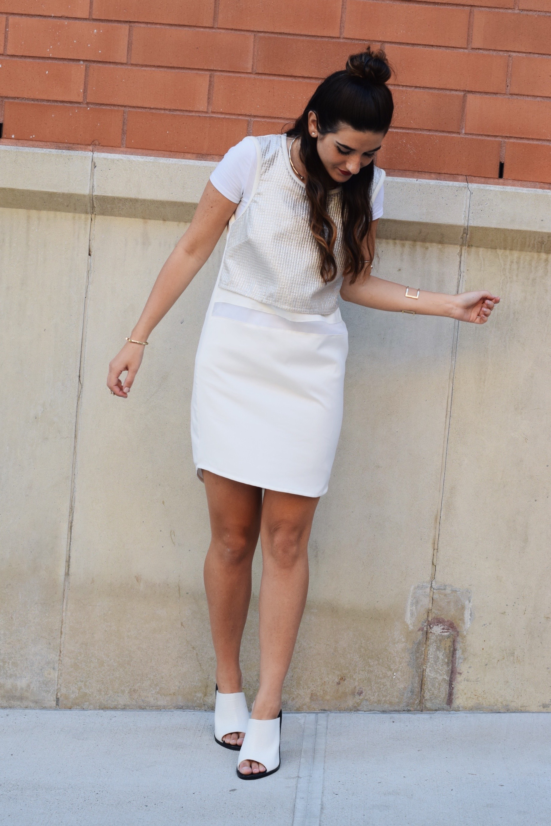 All White Look Gold Jewelry Louboutins & Love Fashion Blog Esther Santer Street Style NYC Blogger Lydell NYC Lumier Bariano Red Light PR Collab IfChic Mod Mules Topknot Hair Girl Model Photoshoot Collar Necklace Bracelet Dress OOTD Outfit Summer Shoes.jpg