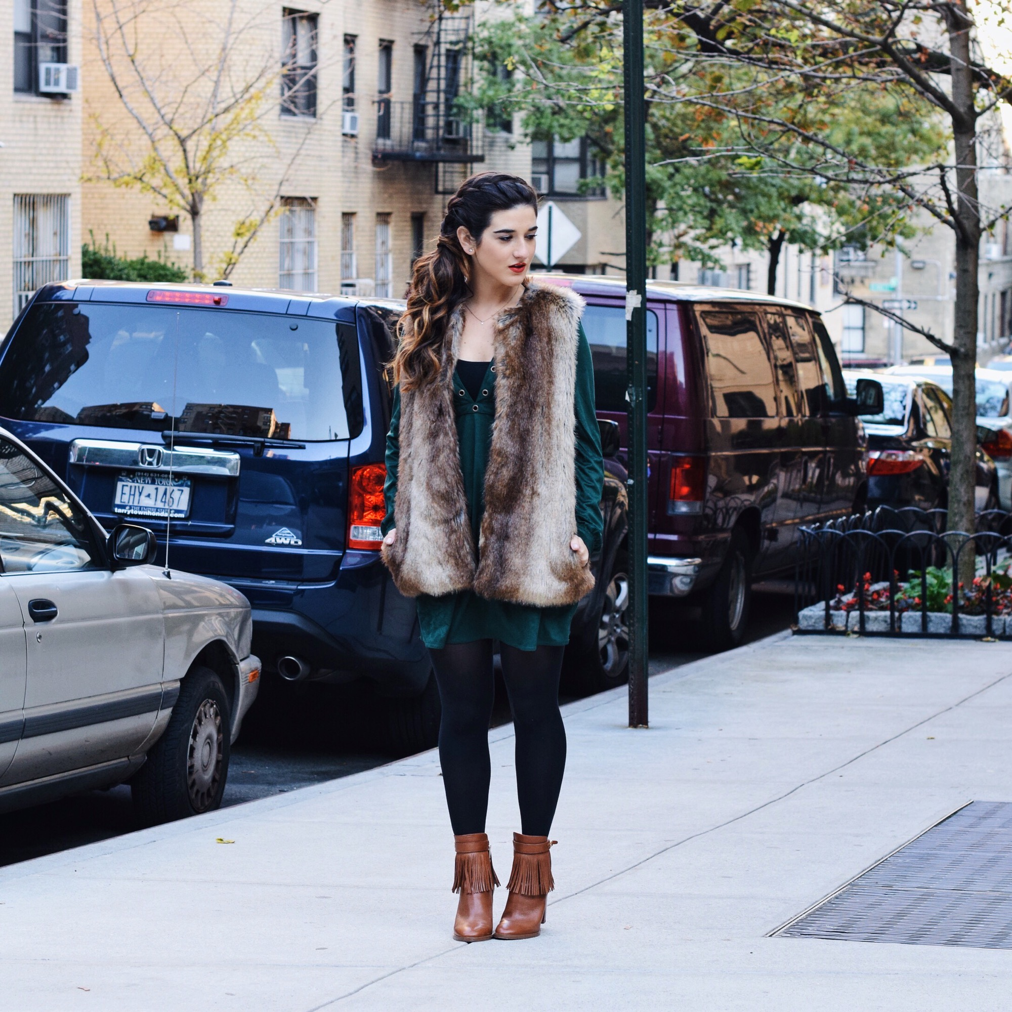 Suede Eyelet Dress Trescool Louboutins & Love Fashion Blog Esther Santer Street Style NYC Blogger Fall Winter Black Tights Ivanka Trump Fringe Booties Camel Hair Girl Women Beautiful Photoshoot Model Outfit OOTD Fur Vest Zara Inspo Trendy What To Wear.JPG