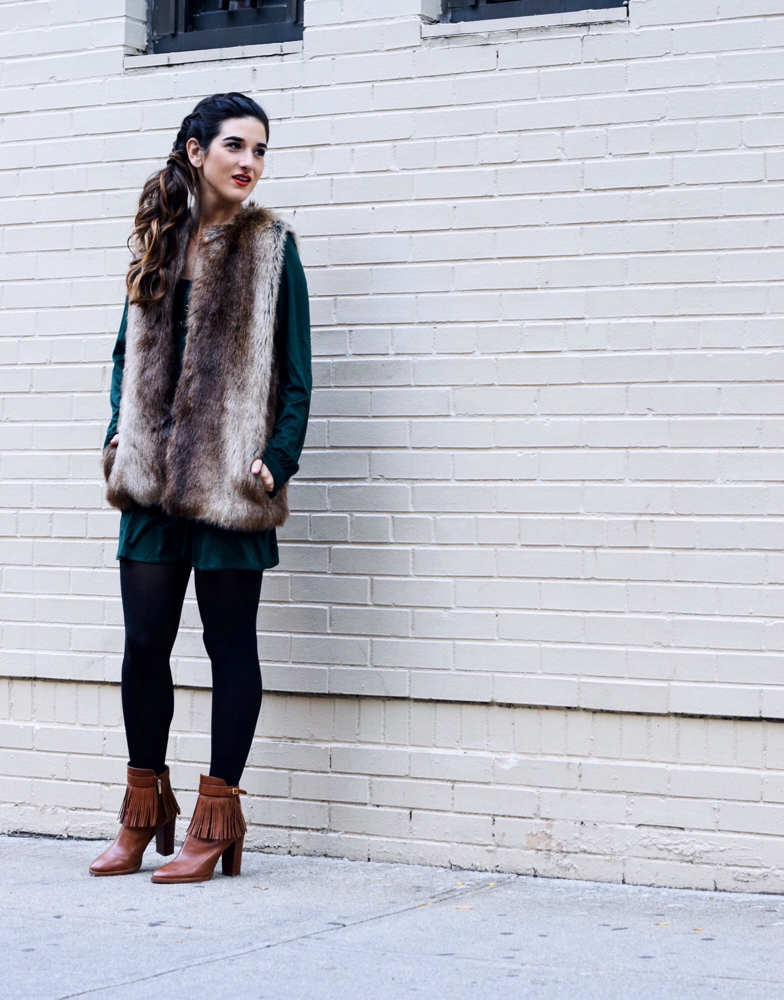 Suede Eyelet Dress Trescool Louboutins & Love Fashion Blog Esther Santer Street Style NYC Blogger Fall Winter Black Tights Ivanka Trump Fringe Booties Camel Hair Girl Women Beautiful Photoshoot Model Outfit OOTD Fur Vest Zara Trendy Inspo What To Wear.JPG