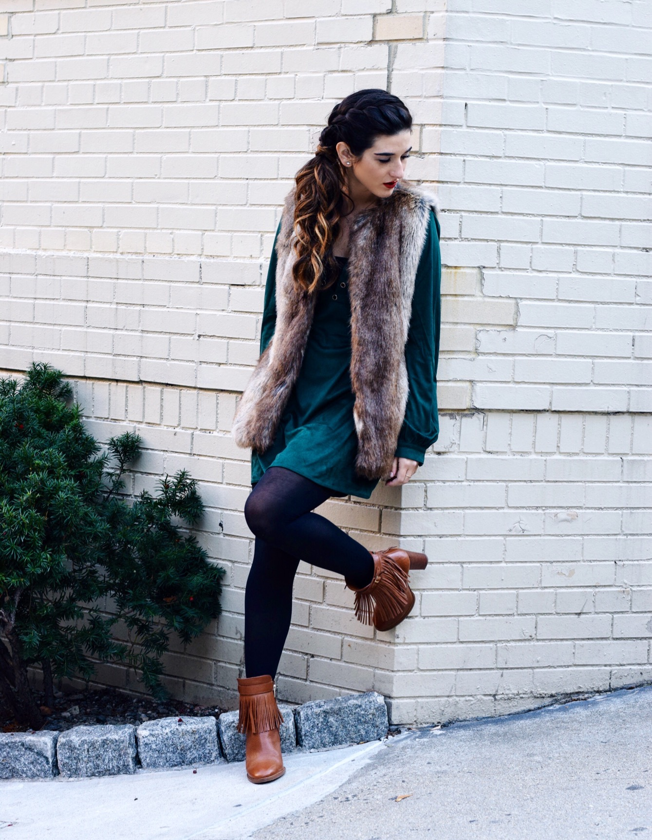 Suede Eyelet Dress Trescool Louboutins & Love Fashion Blog Esther Santer Street Style NYC Blogger Fall Winter Black Tights Ivanka Trump Fringe Booties Camel Hair Girl Women Beautiful Photoshoot Model Outfit OOTD Inspo Trendy Fur Vest Zara What To Wear.JPG