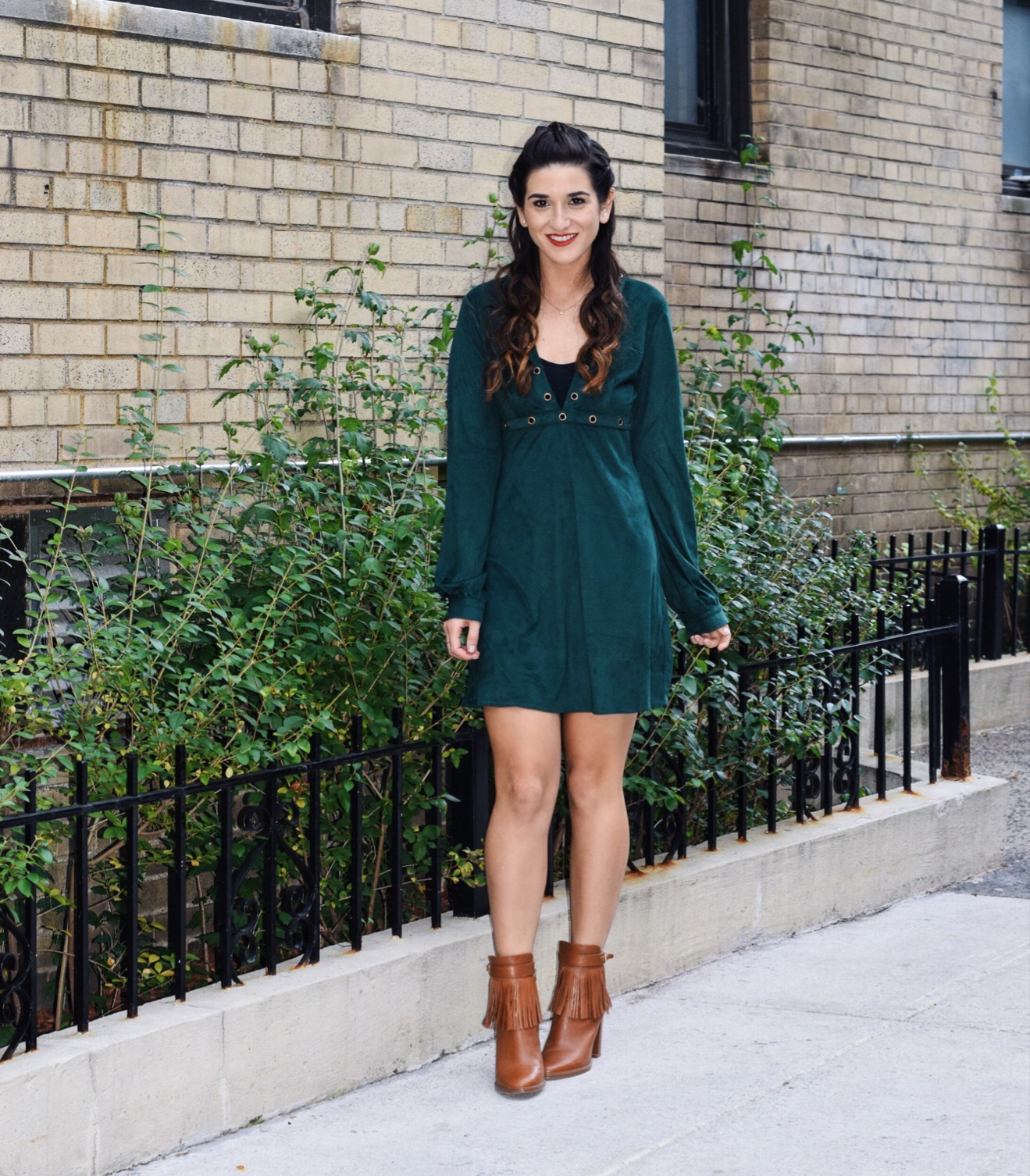 Suede Eyelet Dress Trescool Louboutins & Love Fashion Blog Esther Santer Street Style NYC Blogger Fall Winter Black Tights Ivanka Trump Fringe Booties Camel Hair Girl Women Beautiful Photoshoot Model Outfit OOTD Trendy Fur Vest Zara Inspo What To Wear.JPG