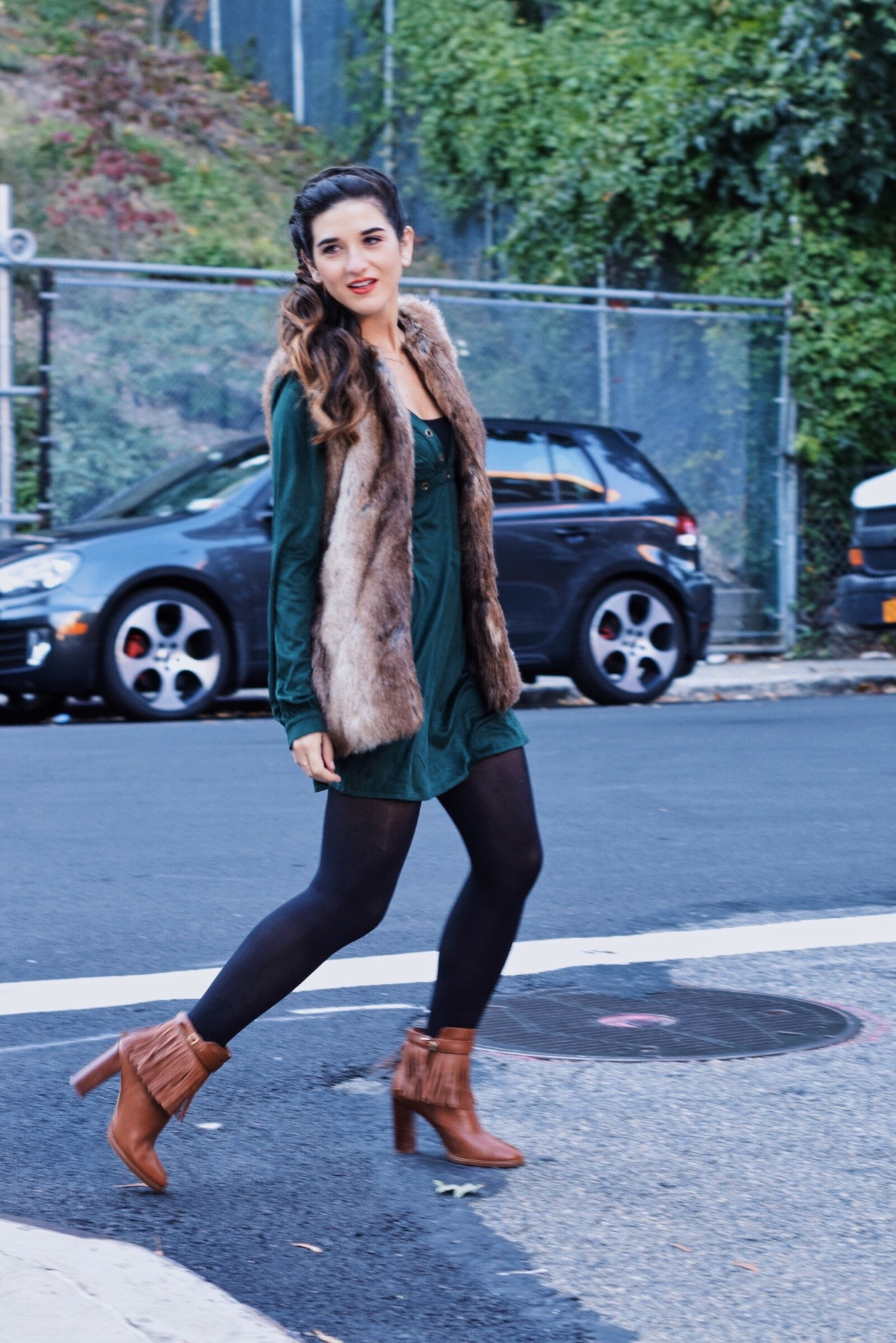 Suede Eyelet Dress Trescool Louboutins & Love Fashion Blog Esther Santer Street Style NYC Blogger Fall Winter Black Tights Ivanka Trump Fringe Booties Camel Hair Girl Women Beautiful Photoshoot Model Trendy Outfit OOTD Inspo Zara Fur Vest What To Wear.JPG