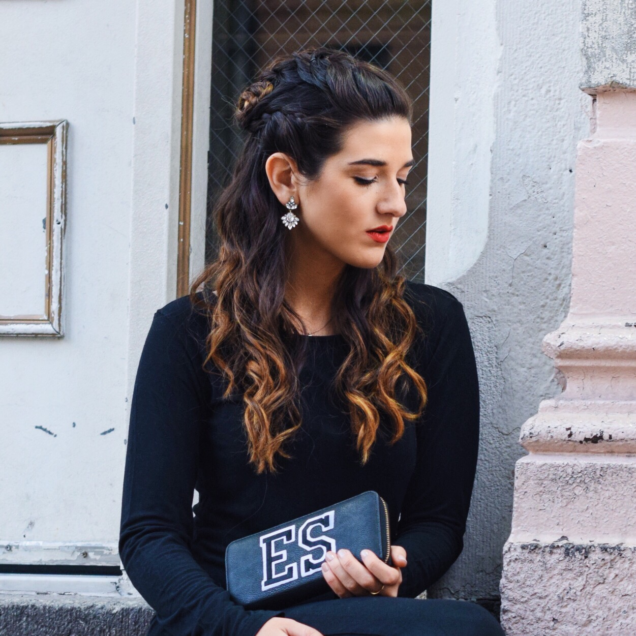 Jeweled Earrings Happiness Boutique Louboutins & Love Fashion Blog Esther Santer NYC Street Style Blogger Lifestyle Black Dress Slit Pretty Beautiful Photoshoot Hair Model Jewelry Rings Grey Coat Monogram Heels Zara H&M Outfit OOTD Fall Winter Look.jpg