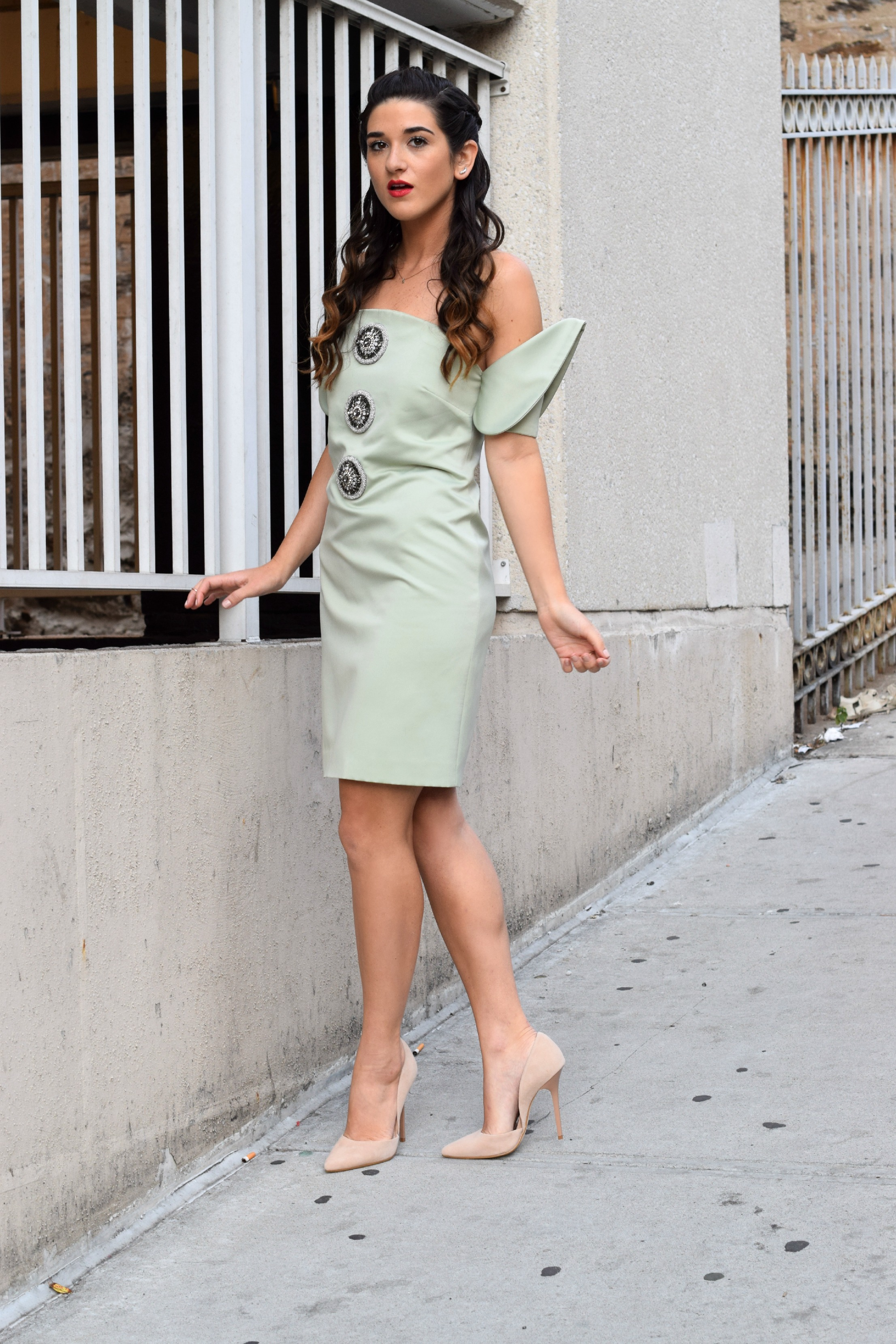 Sage Terno Cocktail Dress Mestiza NY Louboutins & Love Fashion Blog Esther Santer Street Style Blogger NYC Photoshoot Earrings Steve Madden Heels Pumps Hair Brunette Model Girl Women Trendy Outfit OOTD Inspo Look Inspiration Beauty Shop Pretty Braids.JPG