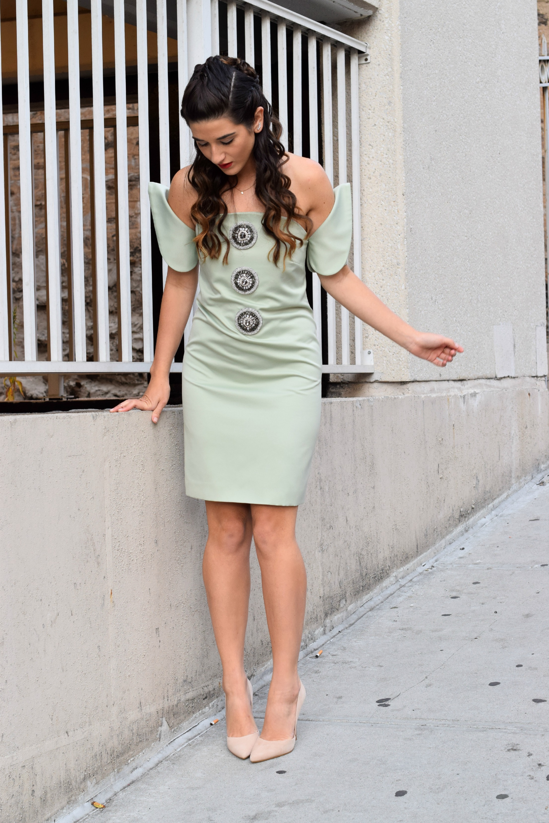 Sage Terno Cocktail Dress Mestiza NY Louboutins & Love Fashion Blog Esther Santer Street Style Blogger NYC Photoshoot Earrings Steve Madden Heels Pumps Hair Brunette Model Girl Women Trendy Outfit Shop OOTD Look Inspiration Inspo Pretty Beauty Braids.JPG