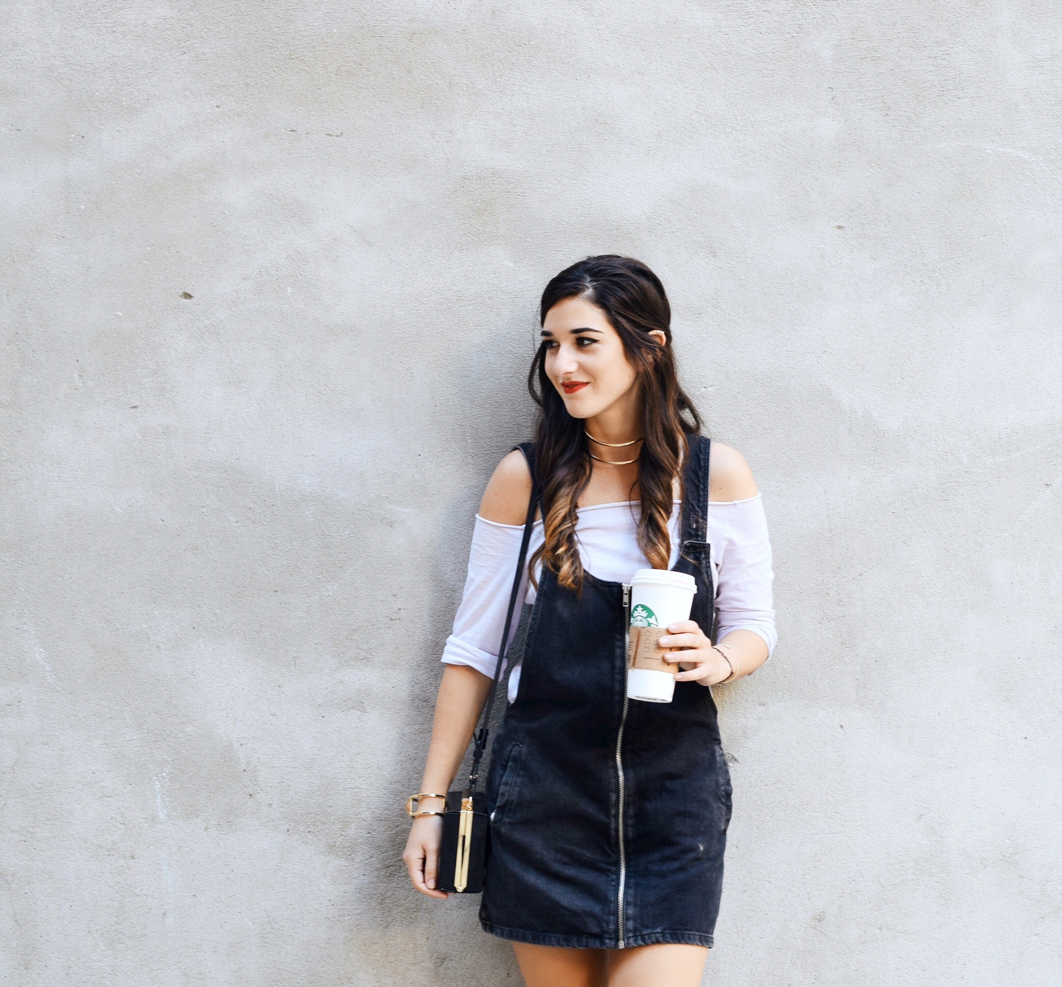 Jean Dress Overalls Off The Shoulder Top Louboutins & Love Fashion Blog Esther Santer Street Style NYC Hair Box Clutch Shoes Denim Gold Jewelry Model Girl Women Trendy Outfit OOTD Bag Inspo Shop Fall Collar Necklace Nordstrom Zipper Black Booties Zara.JPG