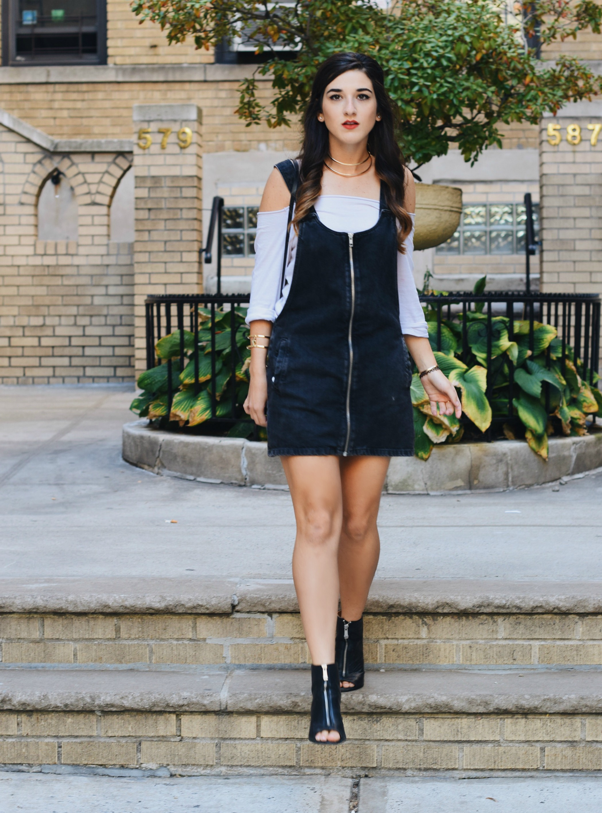 Jean Dress Overalls Off The Shoulder Top Louboutins & Love Fashion Blog Esther Santer Street Style NYC Hair Box Clutch Shoes Denim Gold Jewelry Model Girl Women Trendy Outfit OOTD Bag Inspo Shop Collar Necklace Fall Nordstrom Zipper Black Booties Zara.JPG
