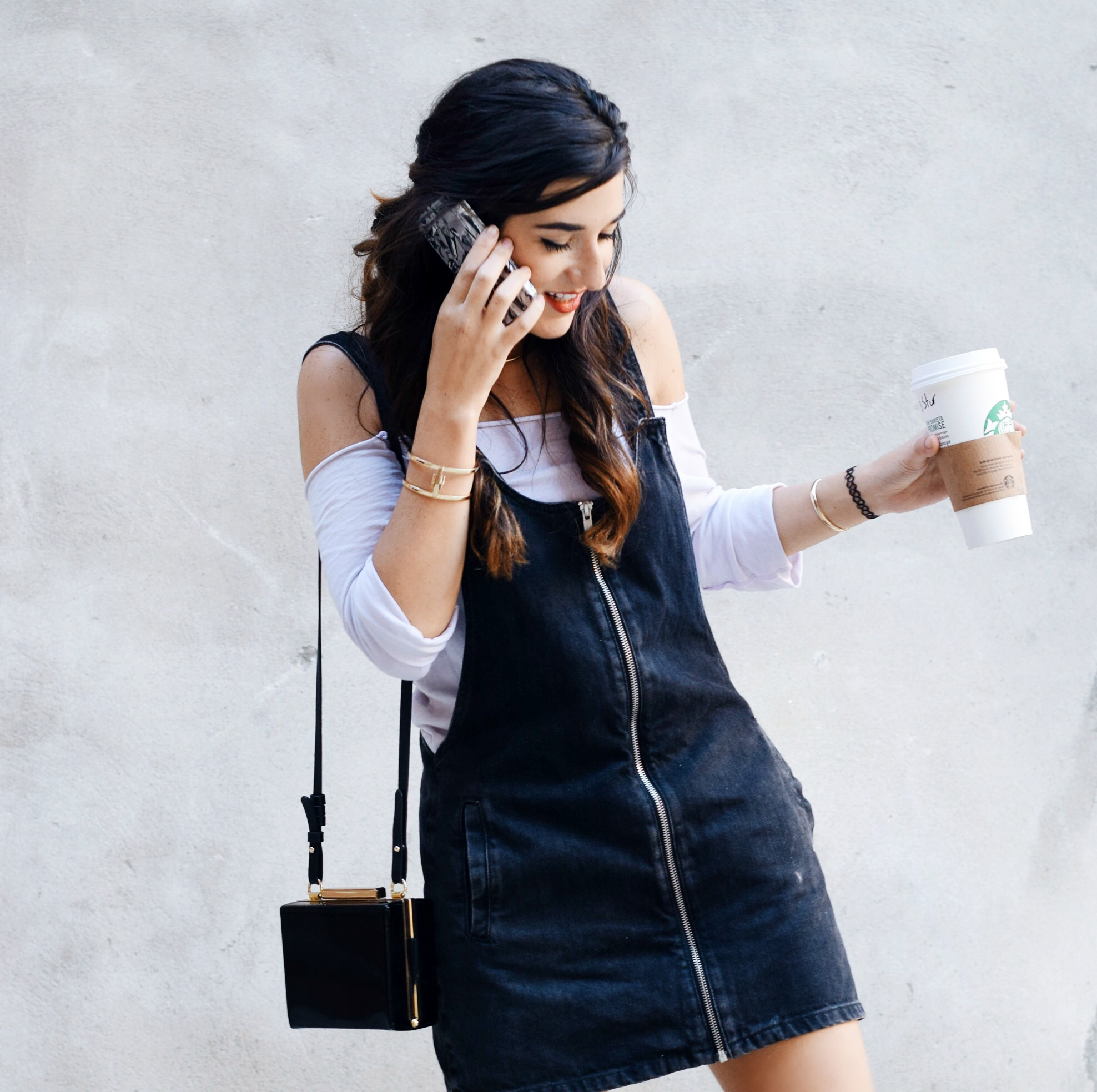 Jean Dress Overalls Off The Shoulder Top Louboutins & Love Fashion Blog Esther Santer Street Style NYC Hair Box Clutch Shoes Denim Gold Jewelry Model Girl Women Zara Trendy Outfit OOTD Bag Collar Necklace Inspo Fall Shop Zipper Black Booties Nordstrom.JPG