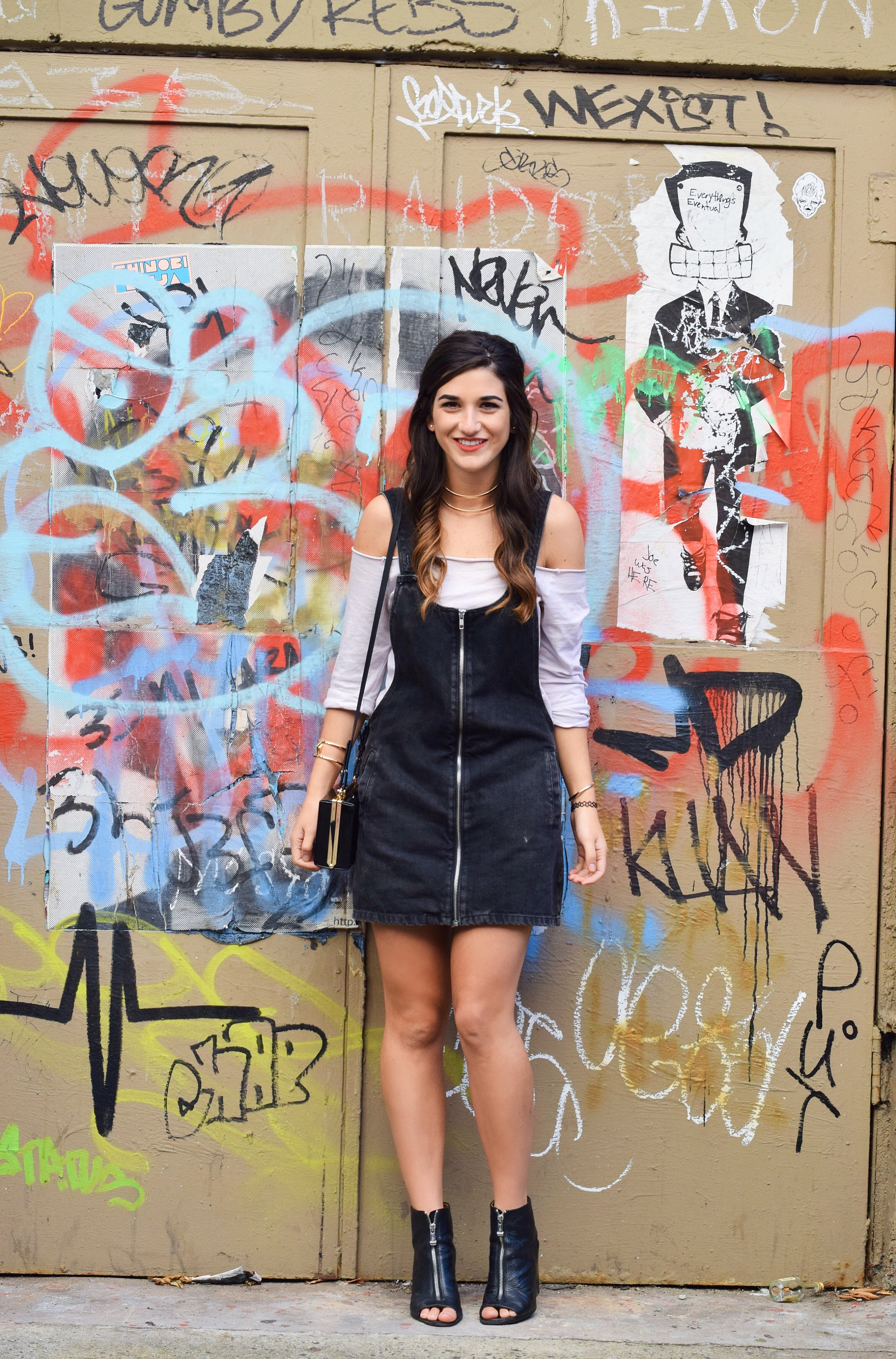 Jean Dress Overalls Off The Shoulder Top Louboutins & Love Fashion Blog Esther Santer Street Style NYC Hair Box Clutch Shoes Denim Gold Jewelry Model Girl Women Zara Trendy Outfit OOTD Bag Collar Necklace Fall Inspo Shop Zipper Black Booties Nordstrom.JPG