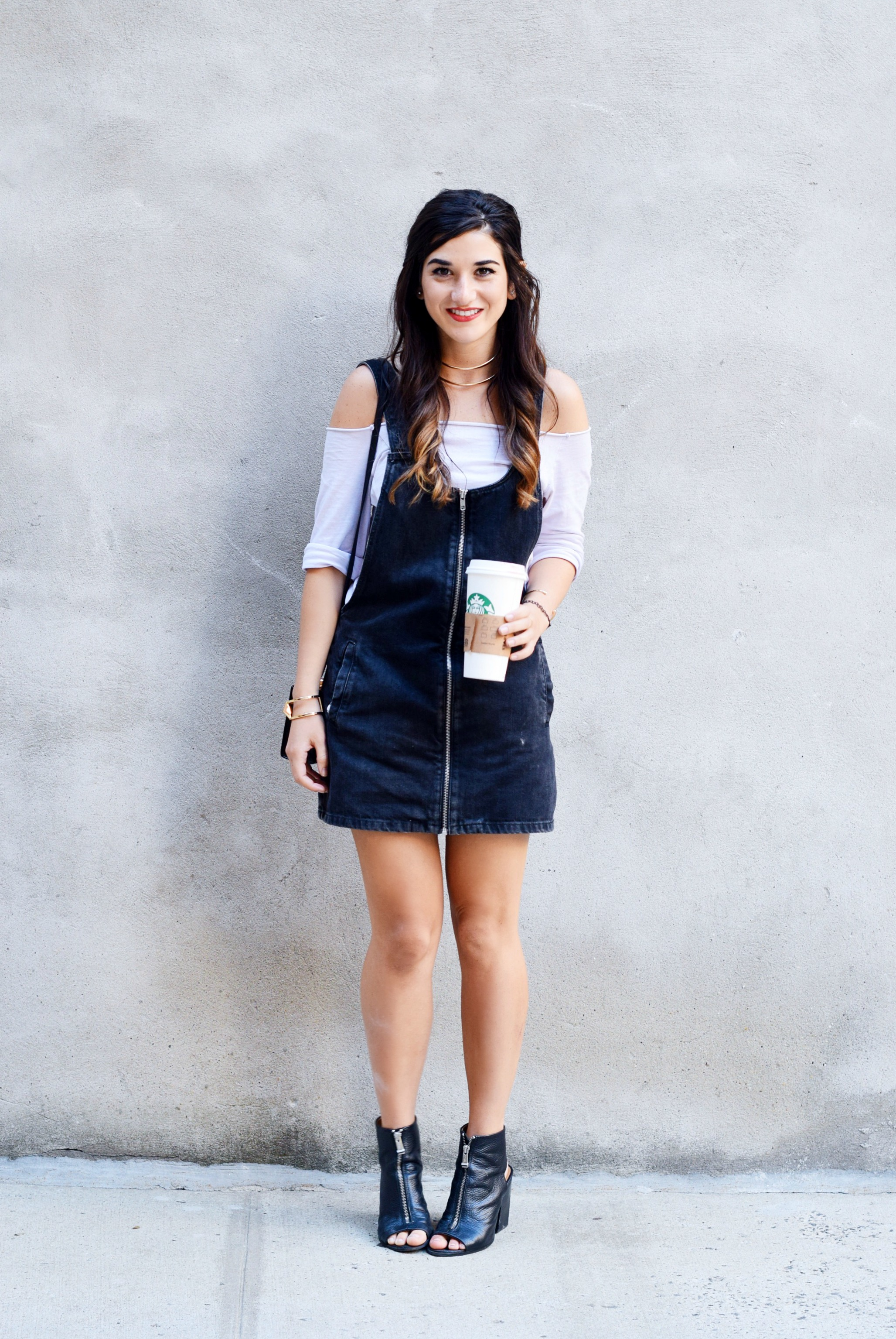Jean Dress Overalls Off The Shoulder Top Louboutins & Love Fashion Blog Esther Santer Street Style NYC Hair Box Clutch Shoes Denim Gold Jewelry Model Girl Women Zara Trendy Outfit OOTD Bag Inspo Shop Fall Collar Necklace Nordstrom Zipper Black Booties.JPG