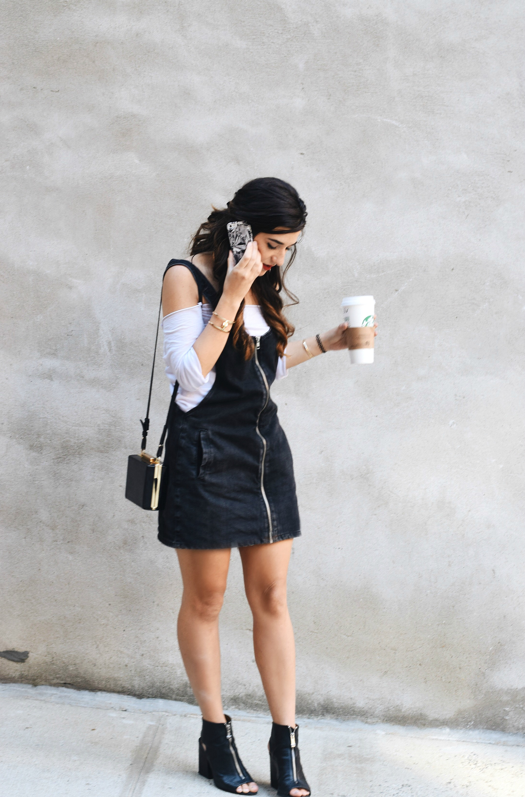Jean Dress Overalls Off The Shoulder Top Louboutins & Love Fashion Blog Esther Santer Street Style NYC Hair Box Clutch Shoes Denim Gold Jewelry Model Girl Women Zara Trendy Outfit OOTD Bag Inspo Shop Fall Collar Necklace Zipper Black Booties Nordstrom.JPG