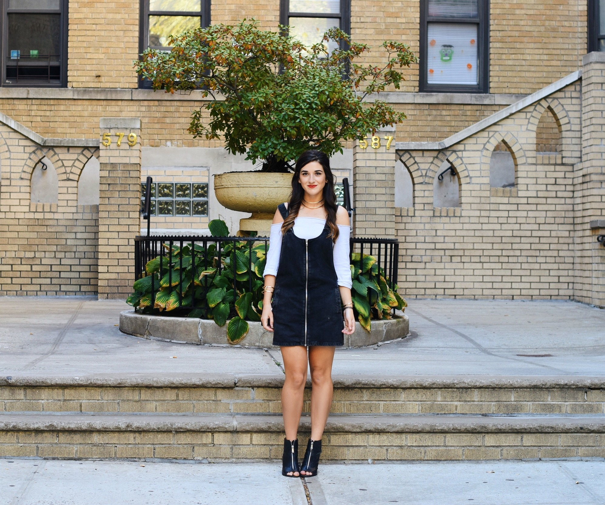 Jean Dress Overalls Off The Shoulder Top Louboutins & Love Fashion Blog Esther Santer Street Style NYC Hair Box Clutch Shoes Denim Gold Jewelry Model Girl Women Zara Trendy OOTD Outfit Bag Collar Necklace Inspo Shop Fall Zipper Black Booties Nordstrom.JPG