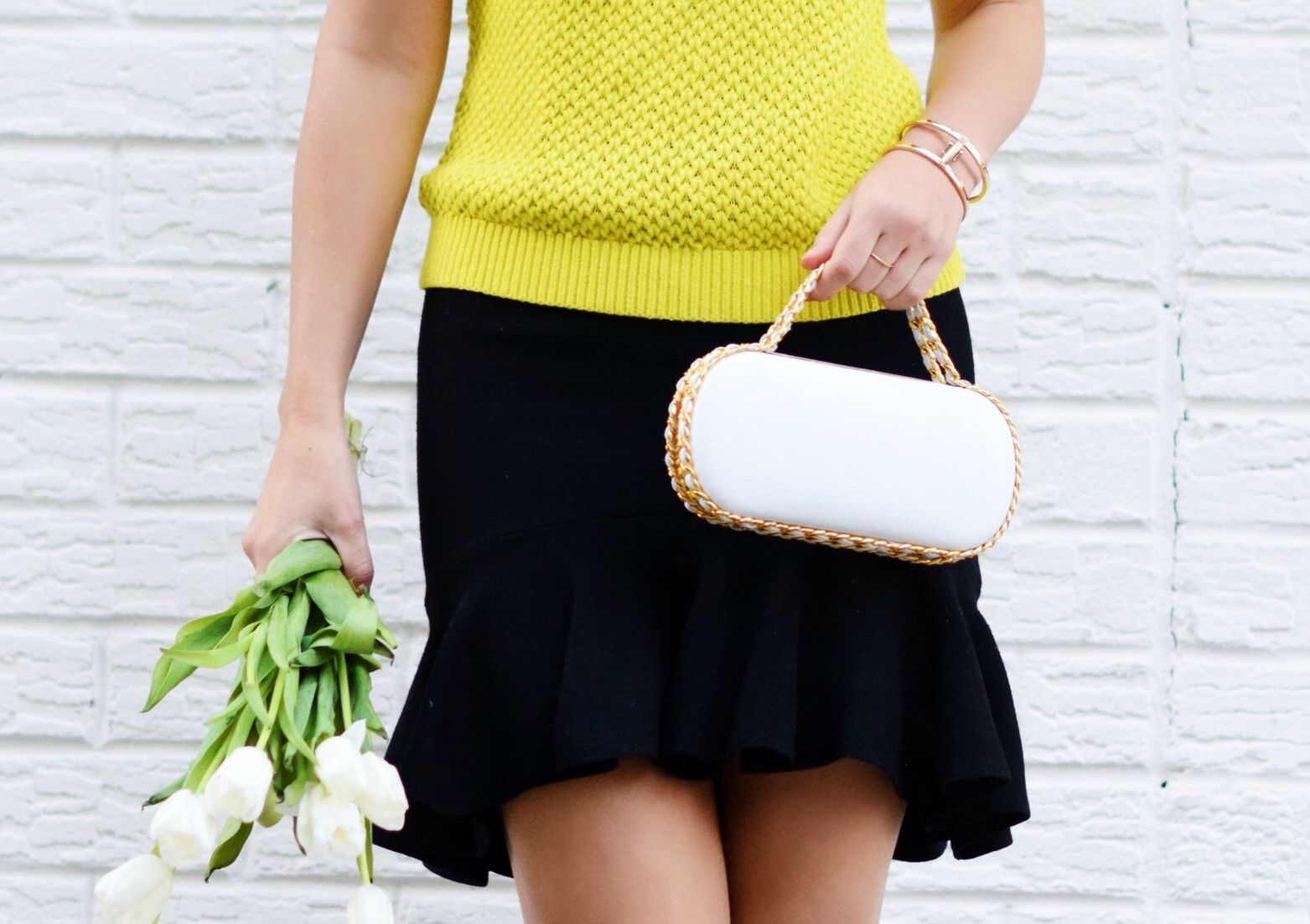 White Prince Minaudiere Erin Dana Louboutins & Love Fashion Blog Esther Santer NYC Street Style Blogger Bag Giveaway Gold Jewelry Lydell Bracelet Collar Necklace Black Booties Flared Ruffle Skirt Photoshoot Model Neon Yellow Sweater Club Monaco Outfit.jpg