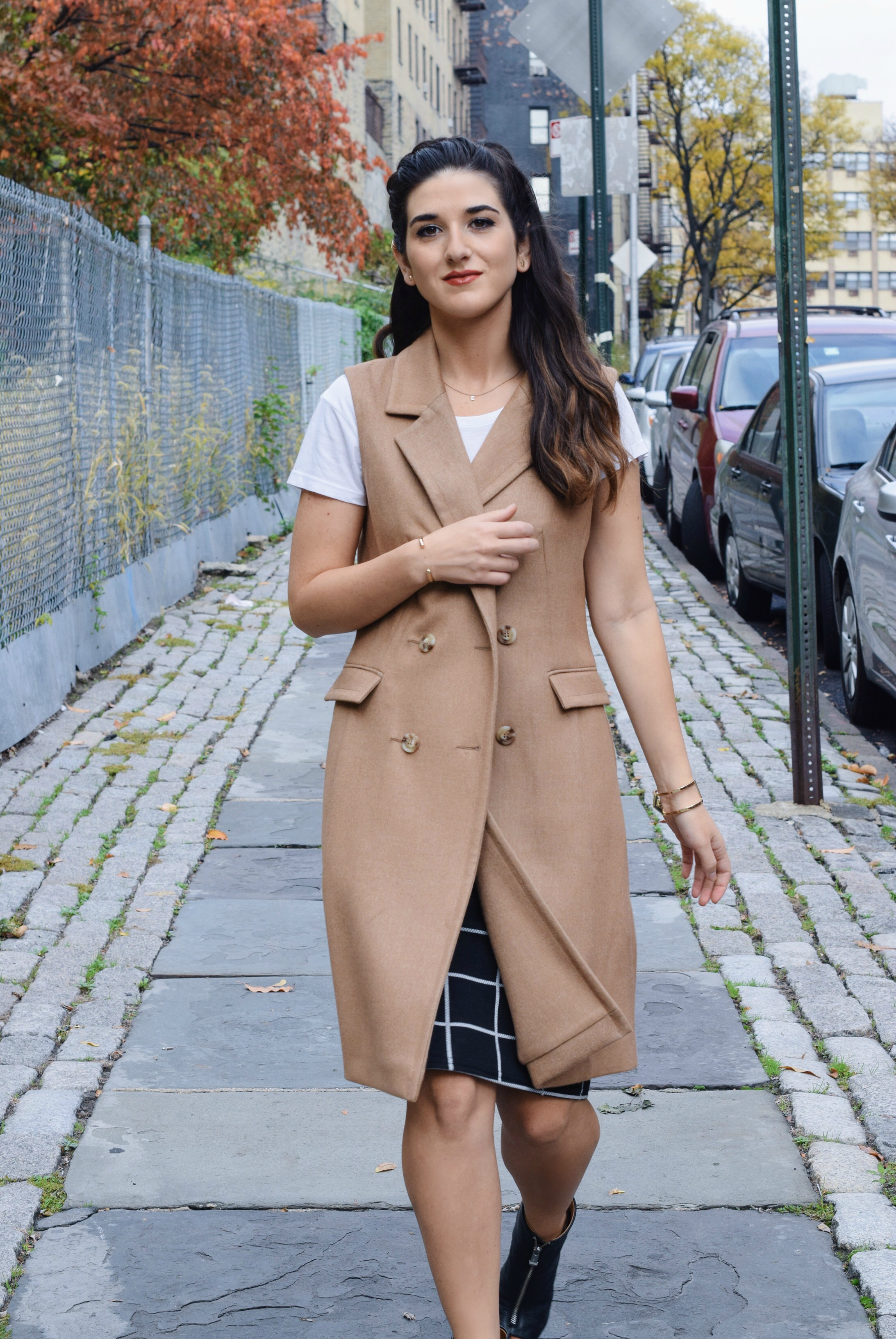 Sleeveless Coat Windowpane Skirt Oasis Louboutins & Love Fashion Blog Esther Santer NYC Street Style Blogger Vest Braid Outfit OOTD Inspo Inspiration White Tee Windowpane Skirt Gold Jewelry Cuff Bracelet Nordstrom Shoes Black Booties Trendy Women Girl.jpg