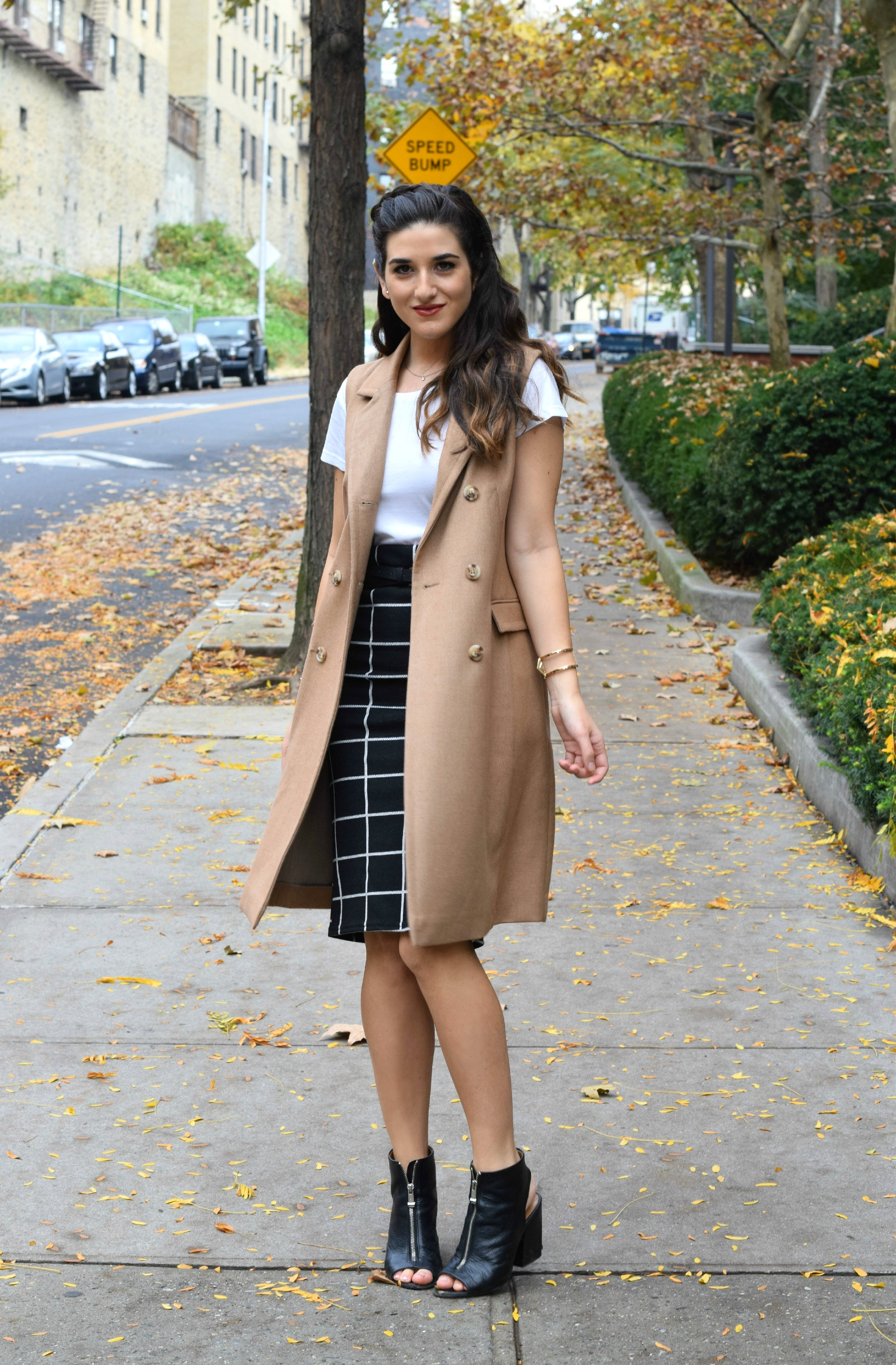 Sleeveless Coat Windowpane Skirt Oasis Louboutins & Love Fashion Blog Esther Santer NYC Street Style Blogger Vest Braid Outfit OOTD Inspo Inspiration White Tee Windowpane Skirt Gold Jewelry Cuff Bracelet Shoes Black Booties Nordstrom Trendy Women Girl.jpg