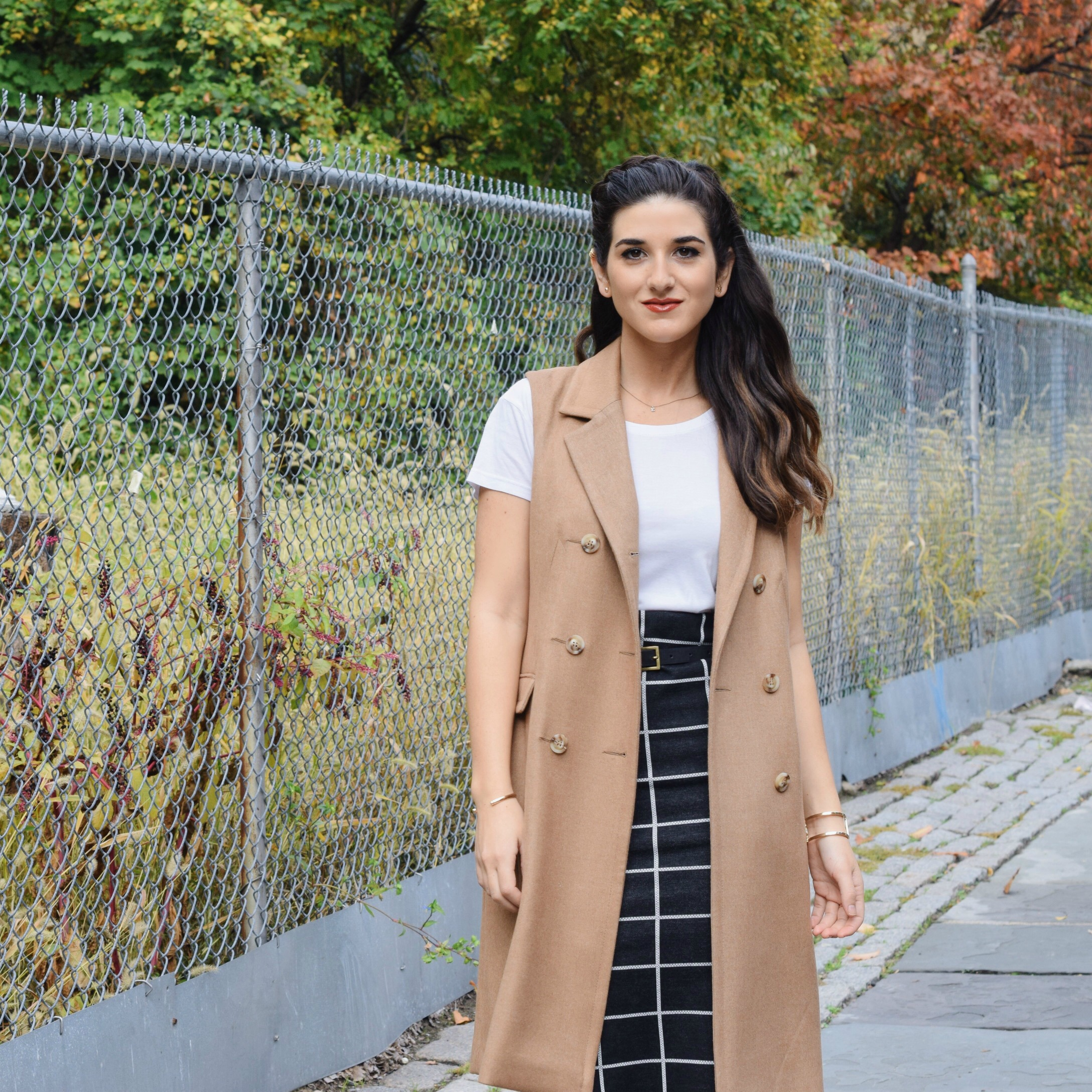 Sleeveless Coat Windowpane Skirt Oasis Louboutins & Love Fashion Blog Esther Santer NYC Street Style Blogger Vest Outfit OOTD  Braid Inspo Inspiration White Tee Windowpane Skirt Gold Jewelry Cuff Bracelet  Trendy Girl Shoes Black Booties Nordstrom.jpg