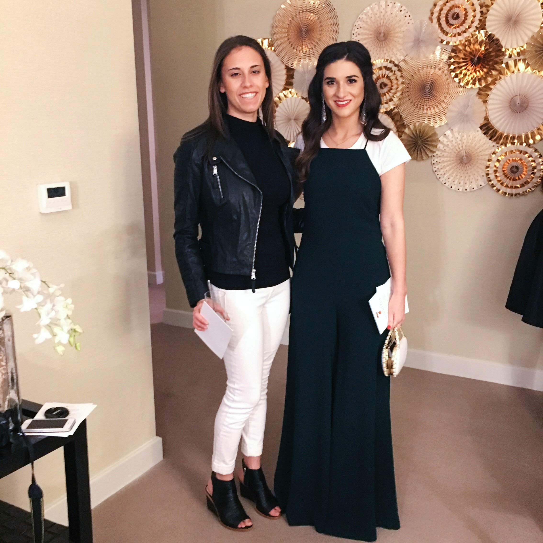 Girls' Night In With Ivanka Trump Louboutins & Love Fashion Blog Esther Santer NYC Street Style Blogger Trump Towers Soho Tote Girls Event Celebs Party Fancy White Tee  Zara Green Jumpsuit Elahn Jewels Diamond Earrings Preta Fringe Booties OOTD Outfit.jpg