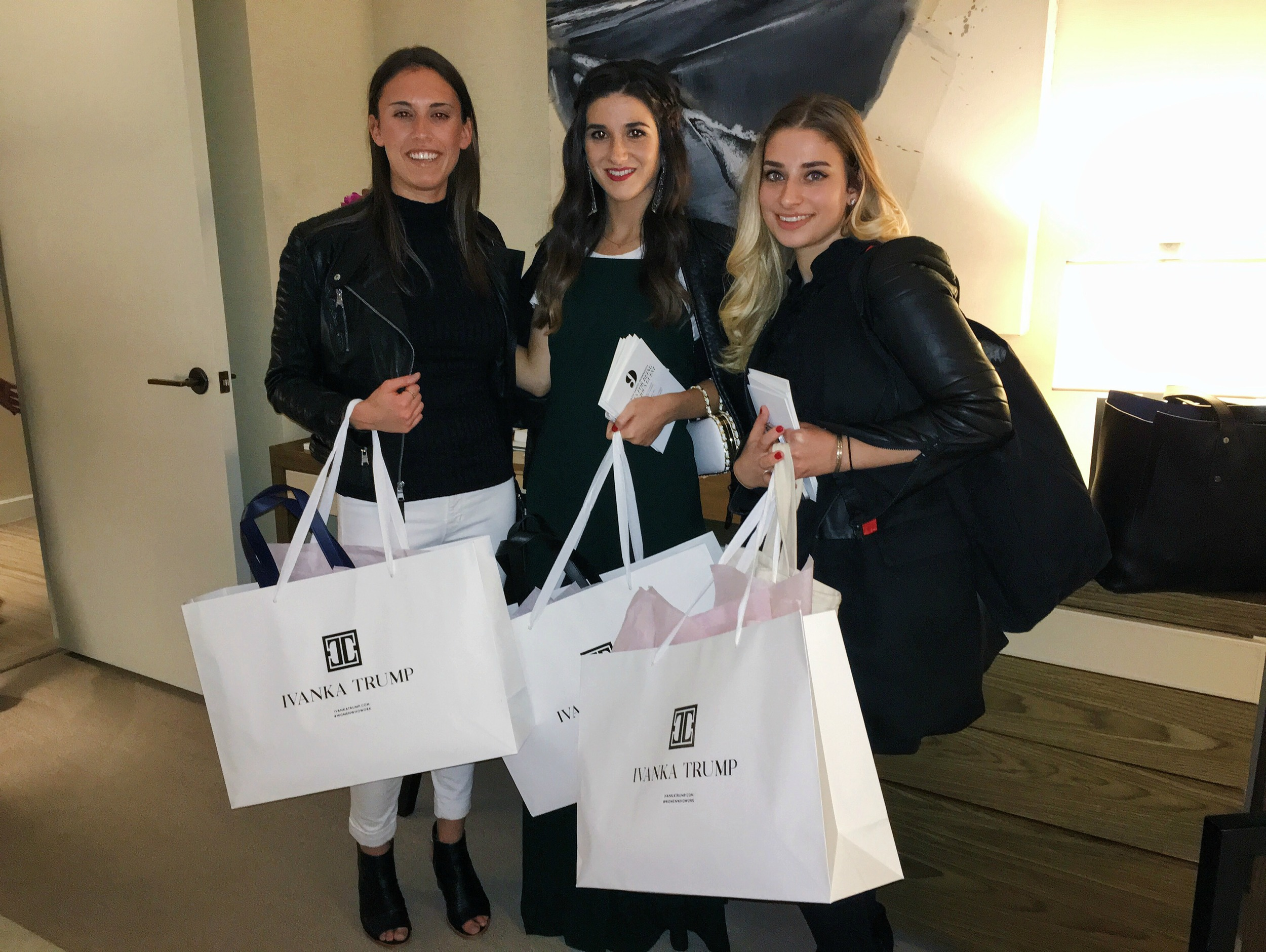 Girls' Night In With Ivanka Trump Louboutins & Love Fashion Blog Esther Santer NYC Street Style Blogger Trump Towers Soho Tote Girls Event Celebs Party Fancy Zara Green Jumpsuit Diamond Earrings Elahn Jewels White Tee Outfit OOTD Preta Fringe Booties.jpg