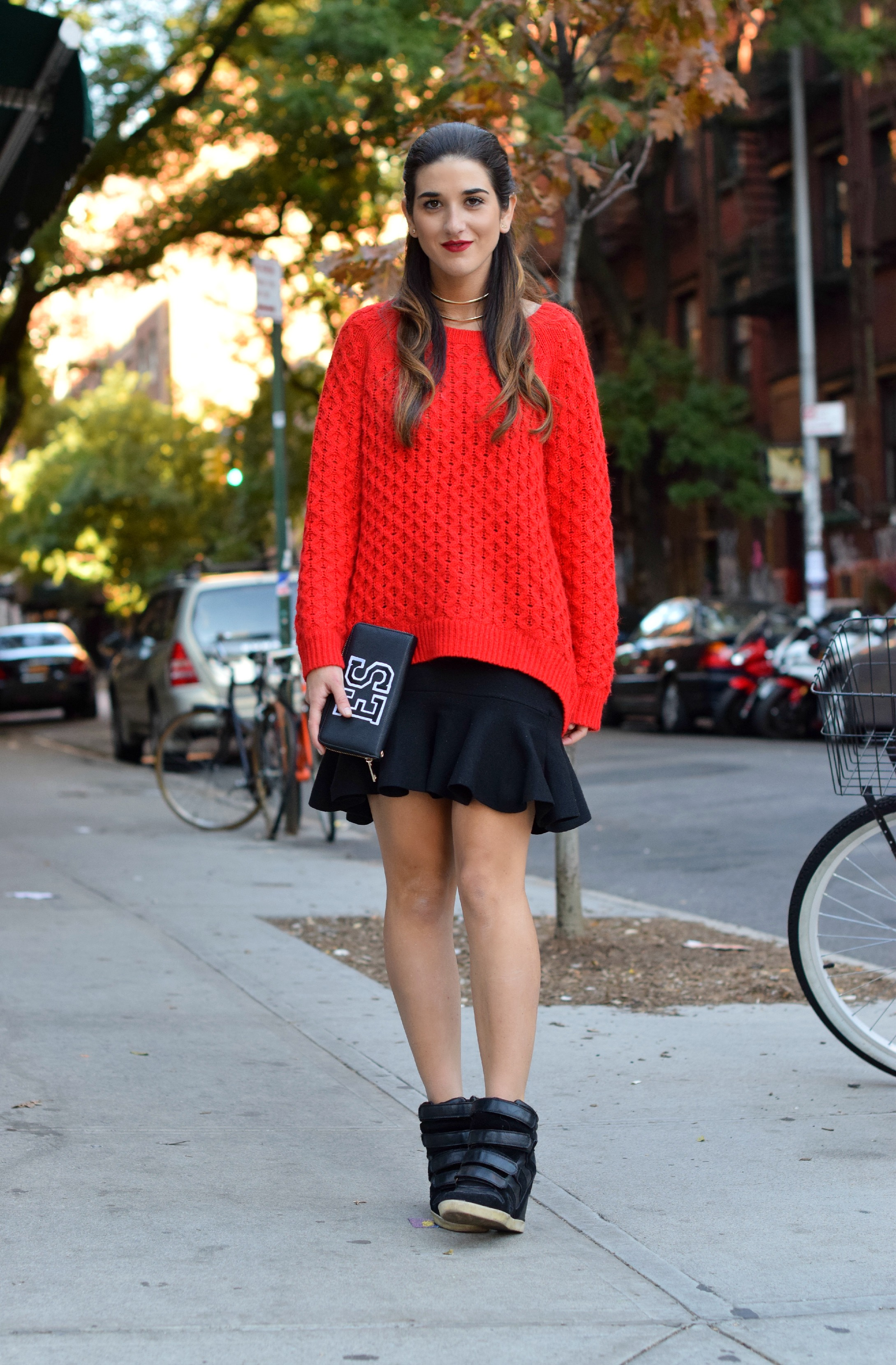 Red Sweater Black Ruffled Skirt Wow Couture Louboutins & Love Fashion Blog Esther Santer NYC Street Style Blogger Outfit OOTD Gold Collar Necklace Fall Winter Look Hair Inspo Inspiration How To Wear Shop Chunky Knits Women Girl Photoshoot Soho Wearing.jpg