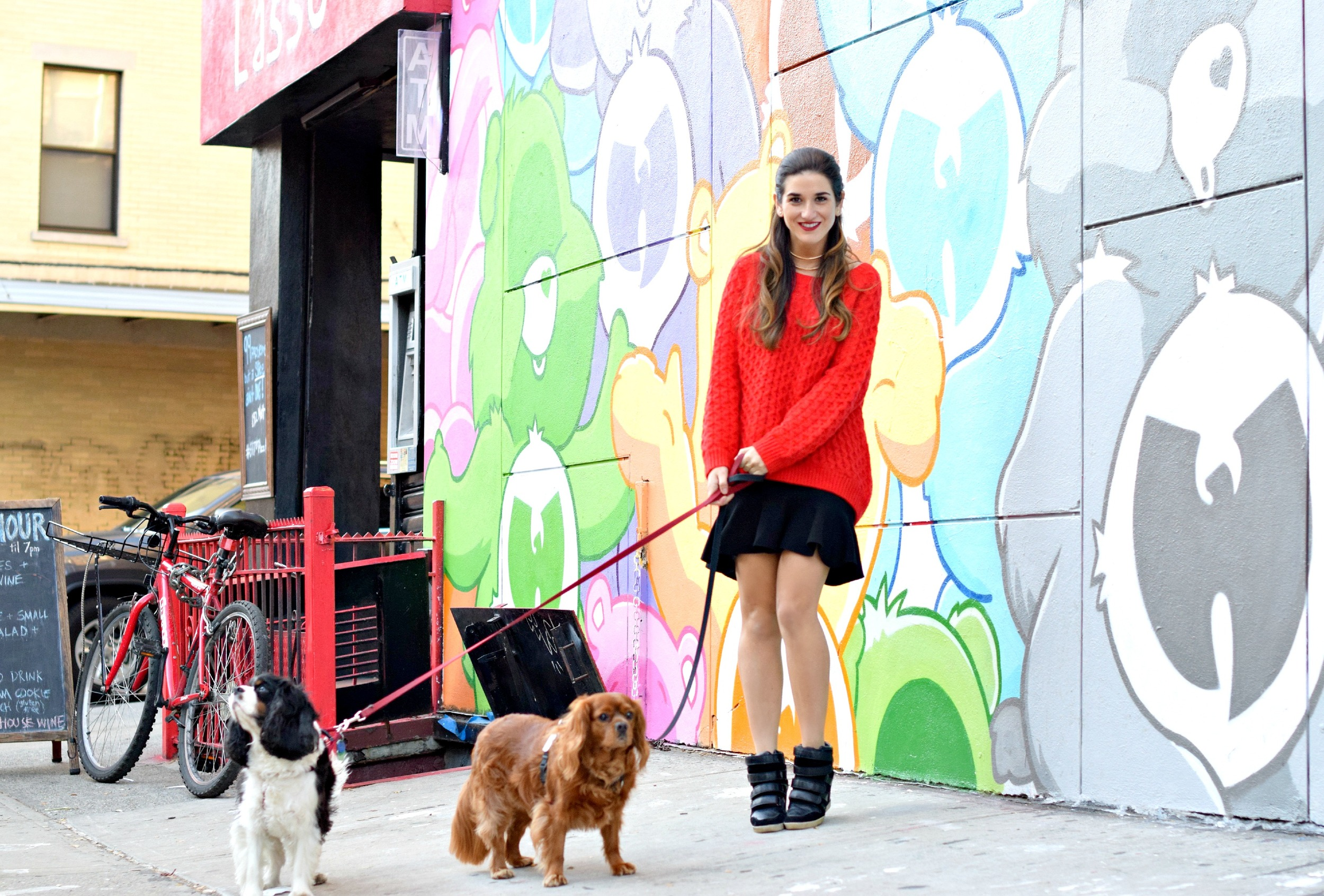 Red Sweater Black Ruffled Skirt Wow Couture Louboutins & Love Fashion Blog Esther Santer NYC Street Style Blogger Outfit OOTD Gold Collar Necklace Fall Winter Look Hair Inspo Inspiration How To Wear Shop Chunky Knits Women Girl Soho Photoshoot Wearing.jpg