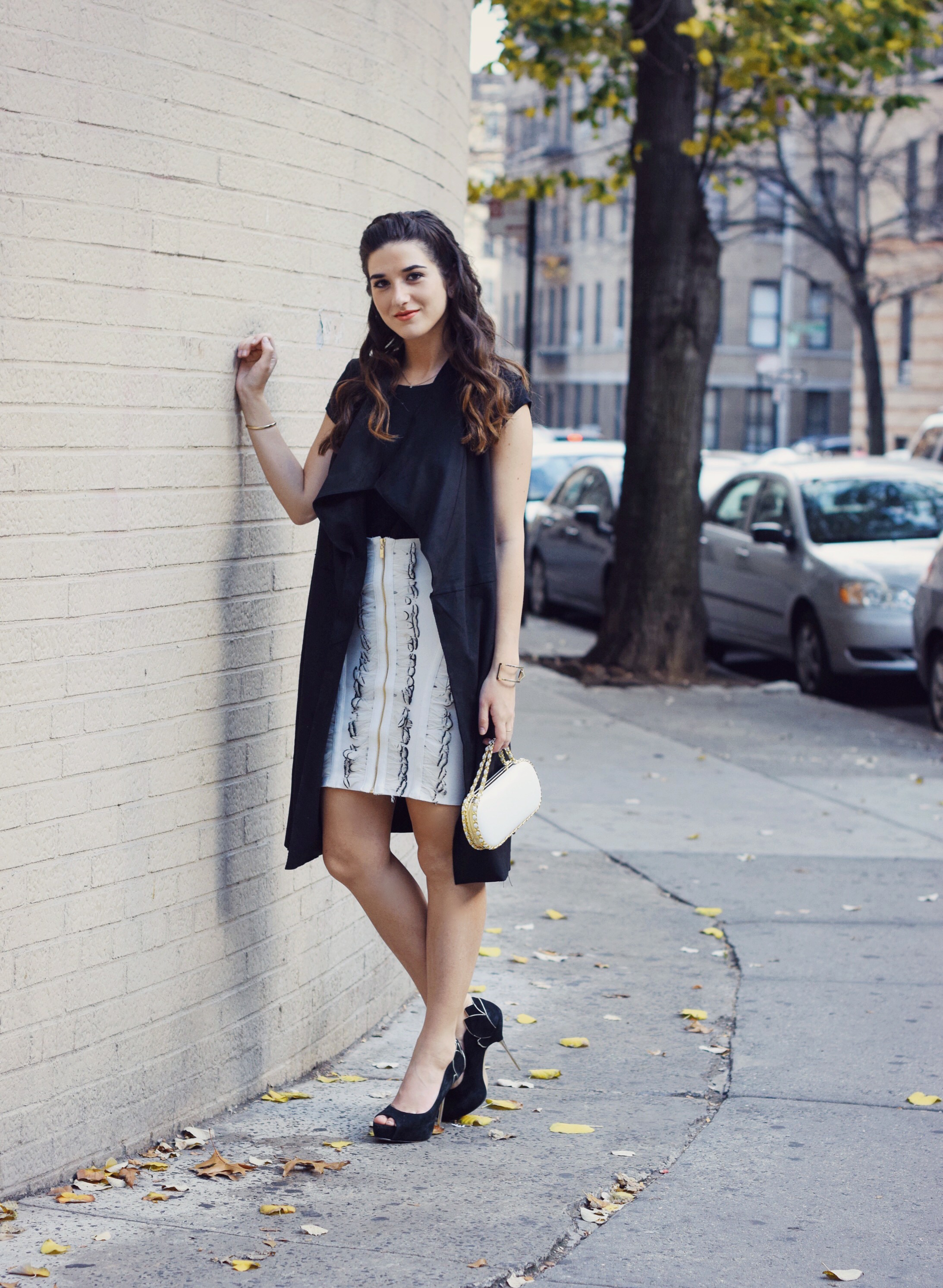 White Feather Skirt Long Black Vest Wow Couture Louboutins & Love Fashion Blog Esther Santer NYC Street Style Blogger Photoshoot Hairstyle Inspo Heels Gold Black Tee Zara Outfit OOTD Beauty Braid Winter Fall Women Girl Model Erin Dana White Minaudiere.JPG