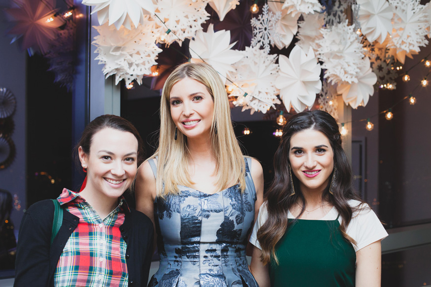 Holiday Party Ivanka Trump Style Louboutins & Love Fashion Blog NYC Street Style Blogger Girls' Night In Event NYC Soho Snowflake Installation Beautiful Decor Metallic Inspo Inspiration Silver Gold Hair GlamSquad Flower Dress Wear Guests WomenWhoWork.jpeg
