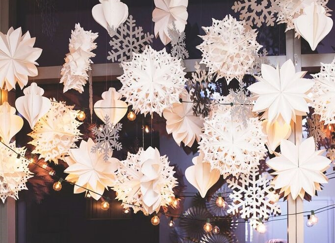 Holiday Party Ivanka Trump Style Louboutins & Love Fashion Blog NYC Street Style Blogger Girls' Night In Event NYC Soho Snowflake Installation Beautiful Decor Metallic Inspiration Inspo Silver Gold Hair GlamSquad Flower Dress Wear Guests WomenWhoWork.jpeg