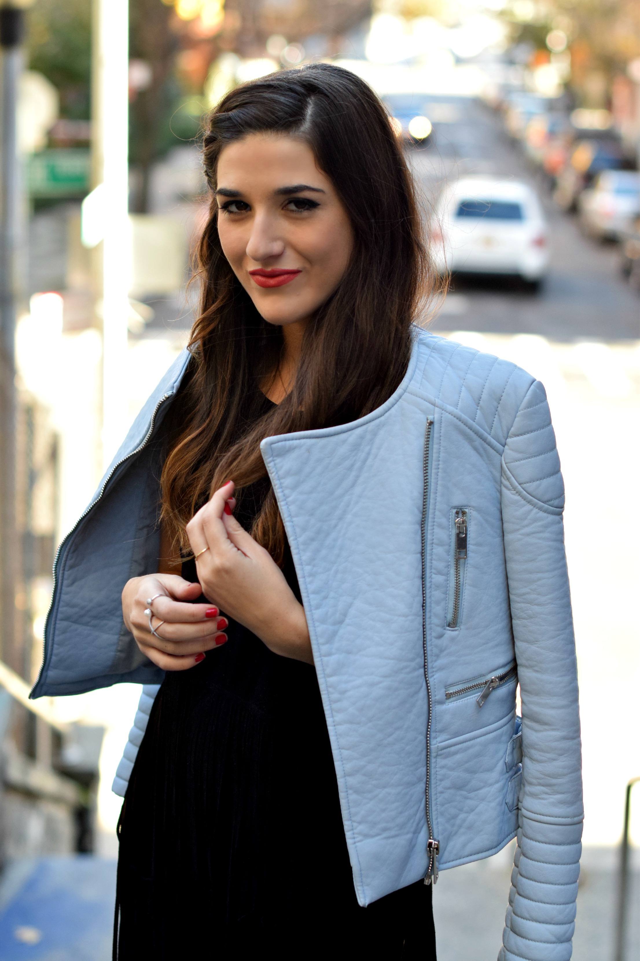 Black Fringe Dress Trèscool Louboutins & Love Fashion Blog Esther Santer NYC Street Style Blogger Baby Blue Leather Jacket Zara Hair Girl Model Photoshoot Booties Nordstrom Outfit OOTD Pretty Red Nail Polish Winter Fall Look  Trendy Shoes Shop Inspo.jpg