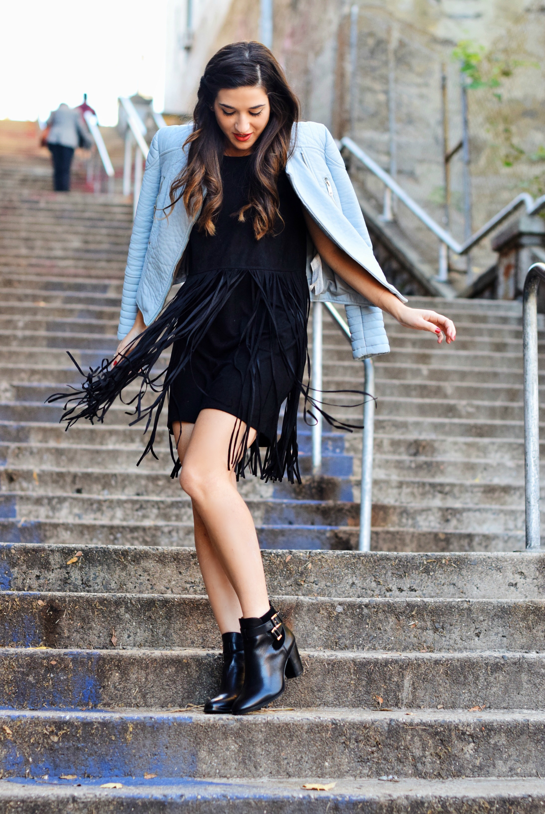 Black Fringe Dress Trèscool Louboutins & Love Fashion Blog Esther Santer NYC Street Style Blogger Baby Blue Leather Jacket Zara Hair Girl Model Photoshoot Booties Nordstrom Outfit OOTD Pretty Red Nail Polish Trendy Shoes Winter Fall Look  Shop Inspo.jpg
