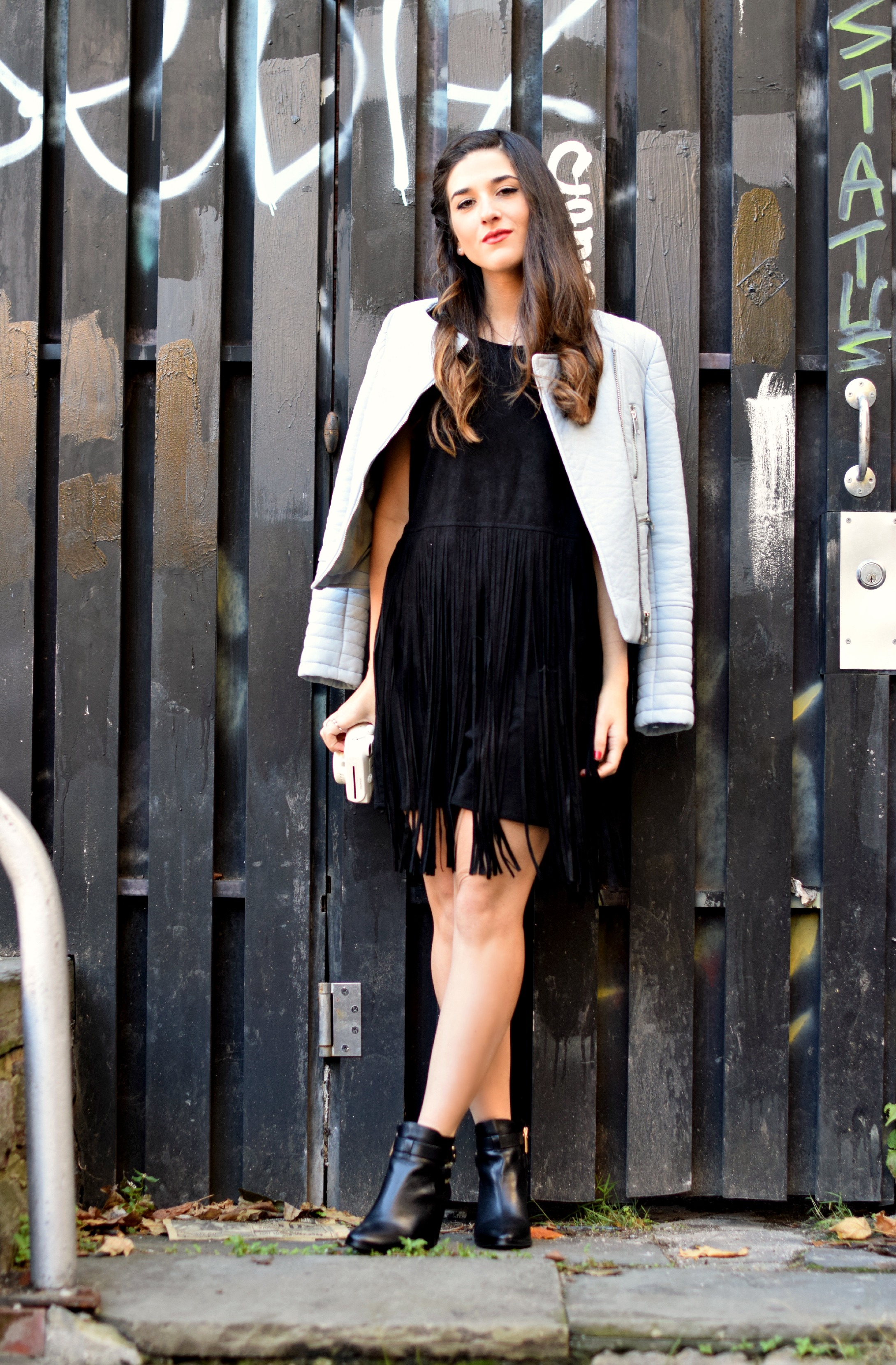 Black Fringe Dress Trèscool Louboutins & Love Fashion Blog Esther Santer NYC Street Style Blogger Baby Blue Leather Jacket Zara Hair Girl Model Photoshoot Booties Nordstrom Outfit OOTD Red Nail Polish Pretty Trendy Shoes Winter Fall Look  Shop Inspo.jpg