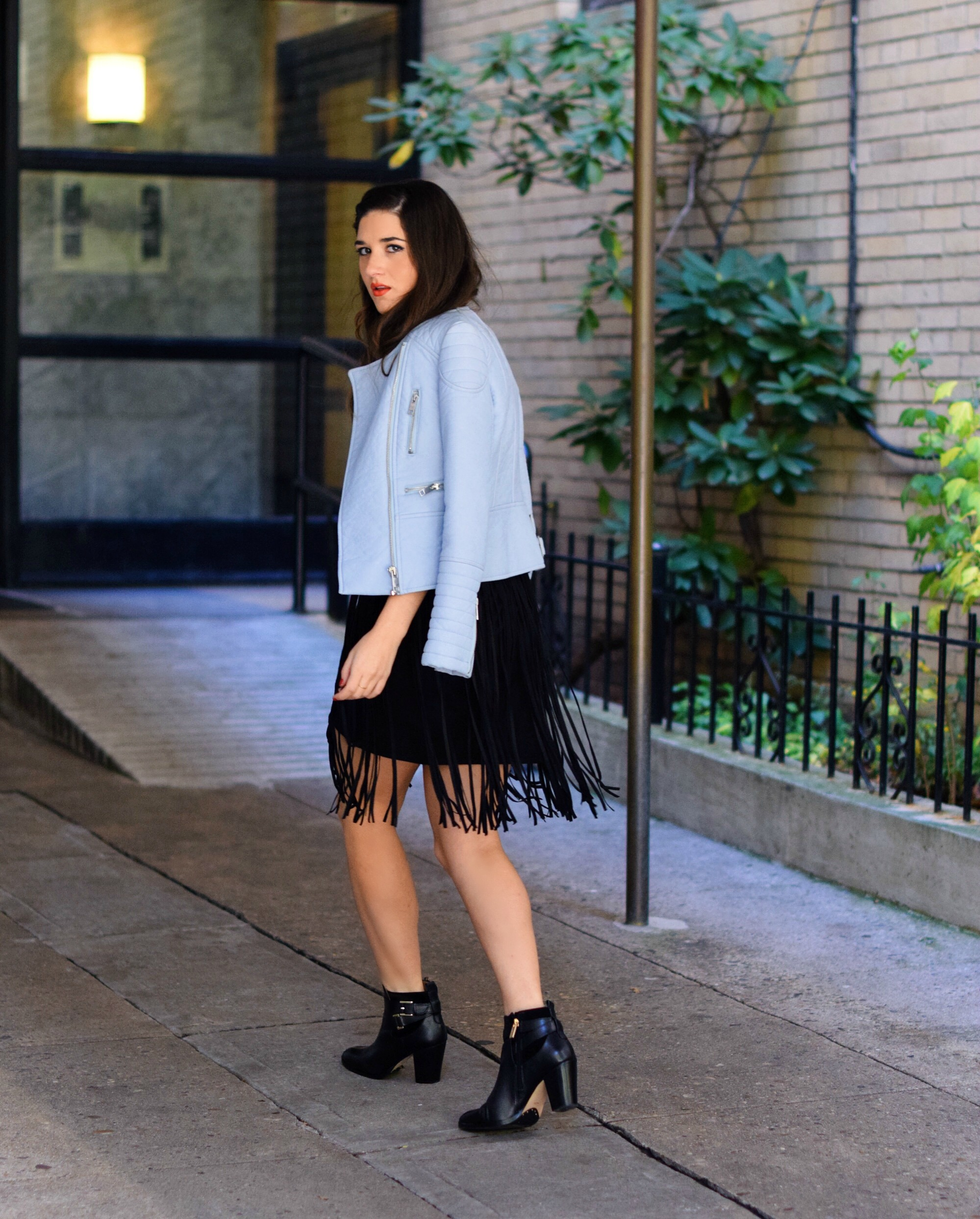 Black Fringe Dress Trèscool Louboutins & Love Fashion Blog Esther Santer NYC Street Style Blogger Baby Blue Leather Jacket Zara Hair Girl Model Photoshoot Booties Nordstrom Outfit OOTD Red Nail Polish Shop Fall Look Pretty Inspo Shoes Winter Trendy.jpg