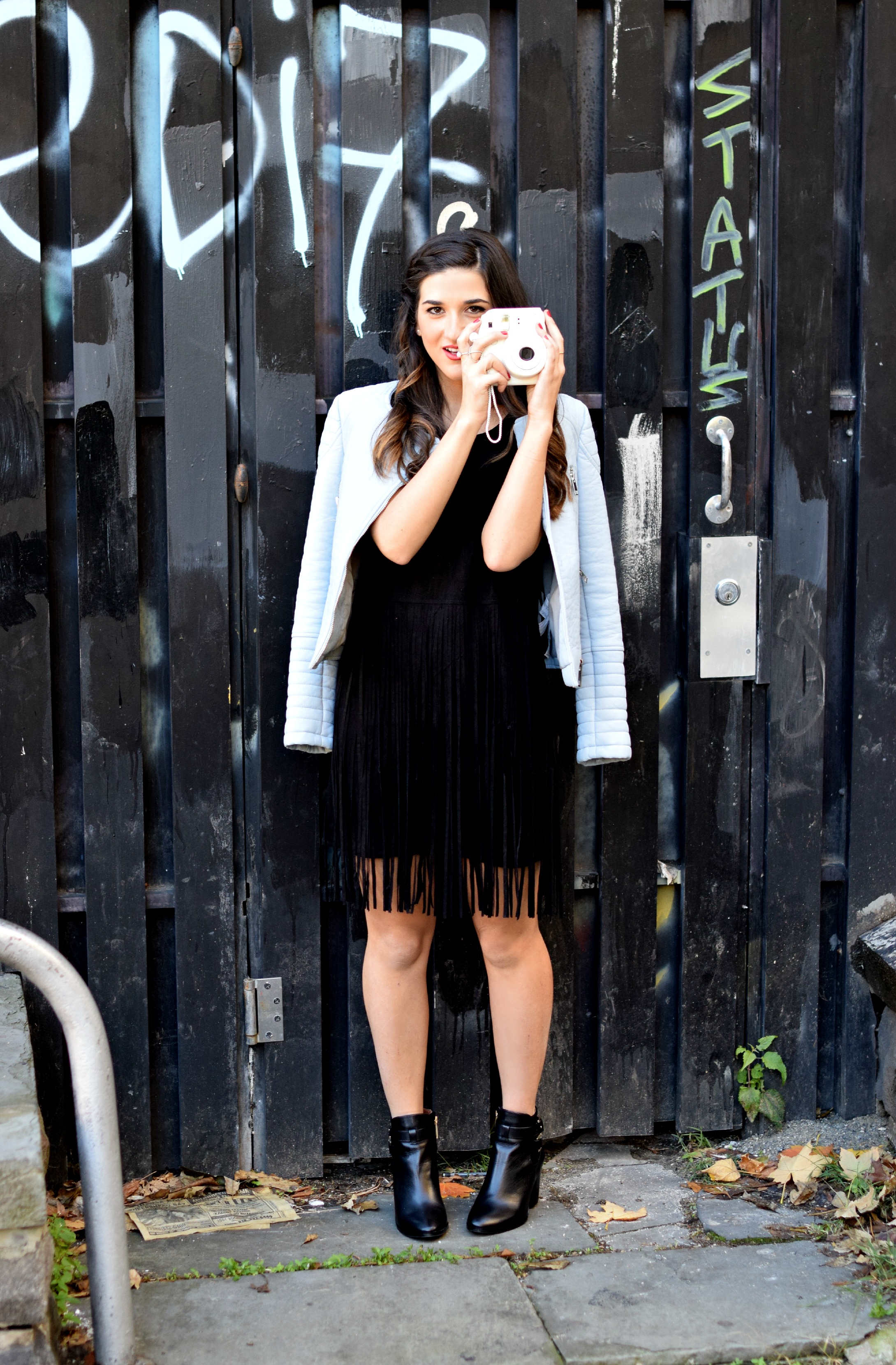 Black Fringe Dress Trèscool Louboutins & Love Fashion Blog Esther Santer NYC Street Style Blogger Baby Blue Leather Jacket Zara Hair Girl Model Photoshoot Booties Nordstrom Outfit OOTD Red Nail Polish Shop Fall Look Pretty Shoes Winter Trendy Inspo .jpg
