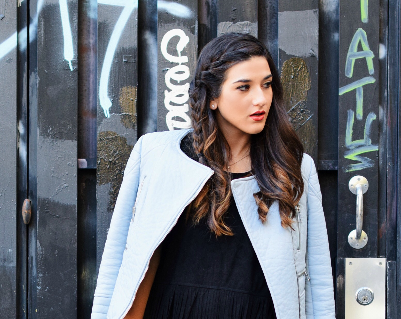 Black Fringe Dress Trèscool Louboutins & Love Fashion Blog Esther Santer NYC Street Style Blogger Baby Blue Leather Jacket Zara Hair Girl Model Photoshoot Booties Nordstrom Outfit OOTD Red Nail Polish Shop Pretty  Fall Look Trendy Shoes Winter Inspo.jpg