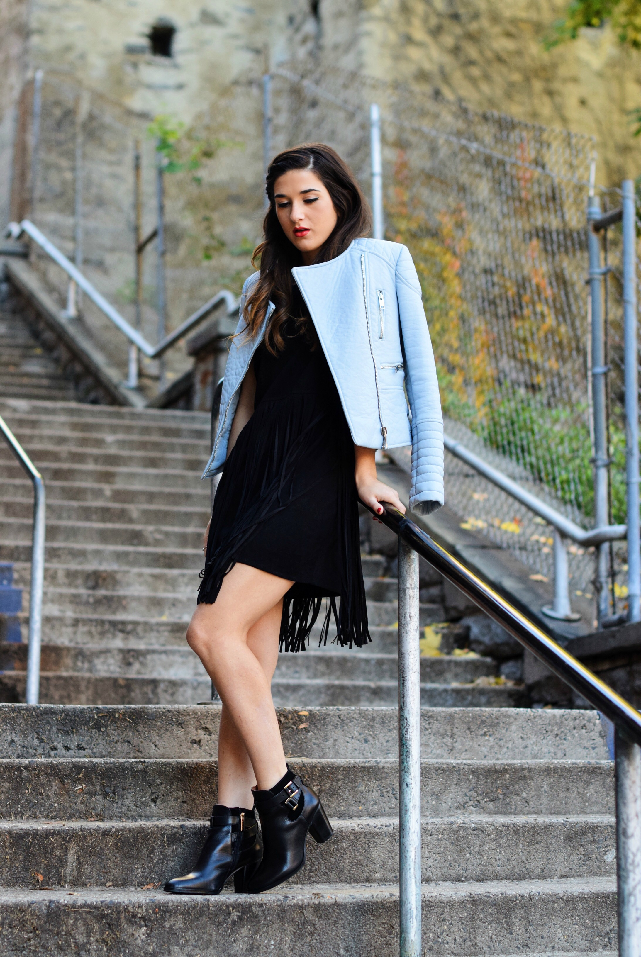 Black Fringe Dress Trèscool Louboutins & Love Fashion Blog Esther Santer NYC Street Style Blogger Baby Blue Leather Jacket Zara Hair Girl Model Photoshoot Booties Nordstrom Outfit OOTD Red Nail Polish Shop Pretty  Fall Look Shoes Winter Trendy Inspo .jpg