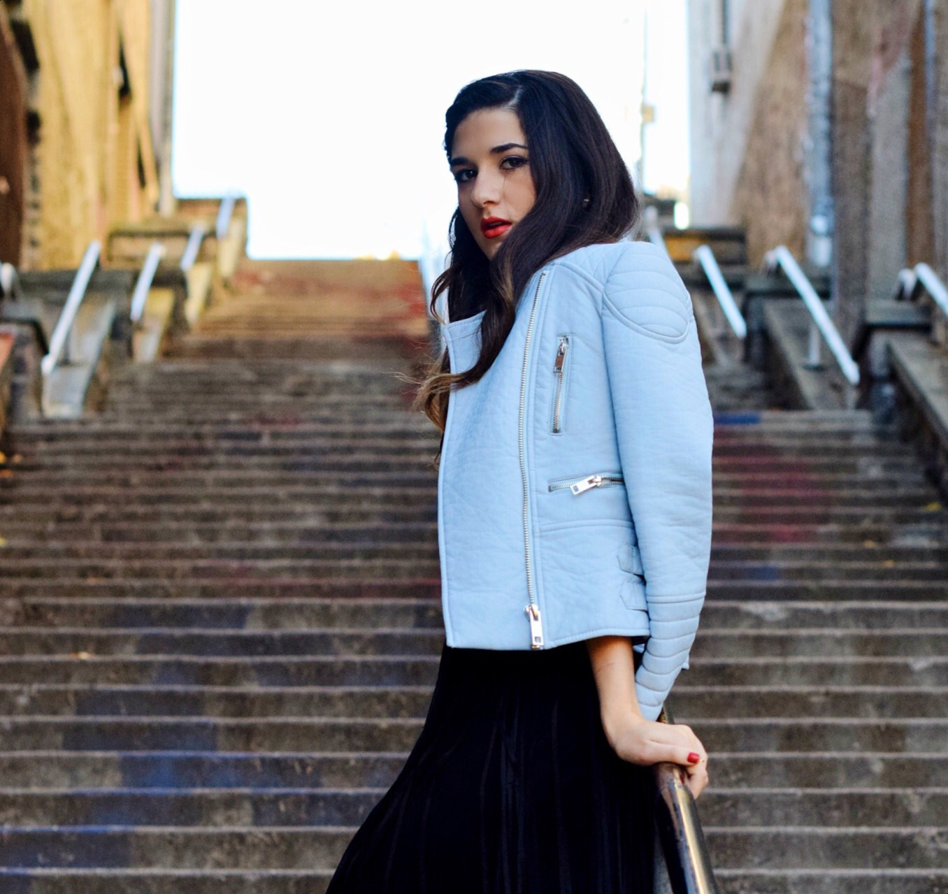 Black Fringe Dress Trèscool Louboutins & Love Fashion Blog Esther Santer NYC Street Style Blogger Baby Blue Leather Jacket Zara Hair Girl Model Photoshoot Booties Nordstrom Outfit OOTD Red Nail Polish Shop Pretty Trendy  Fall Look Shoes Winter Inspo.jpg