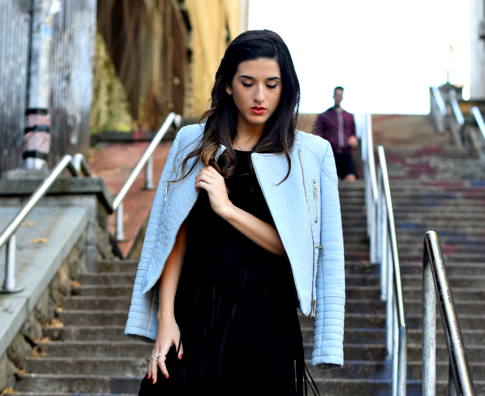 Black Fringe Dress Trèscool Louboutins & Love Fashion Blog Esther Santer NYC Street Style Blogger Baby Blue Leather Jacket Zara Hair Girl Model Photoshoot Booties Nordstrom Outfit OOTD Red Nail Polish Pretty Trendy  Fall Look Shoes Winter Shop Inspo.jpg