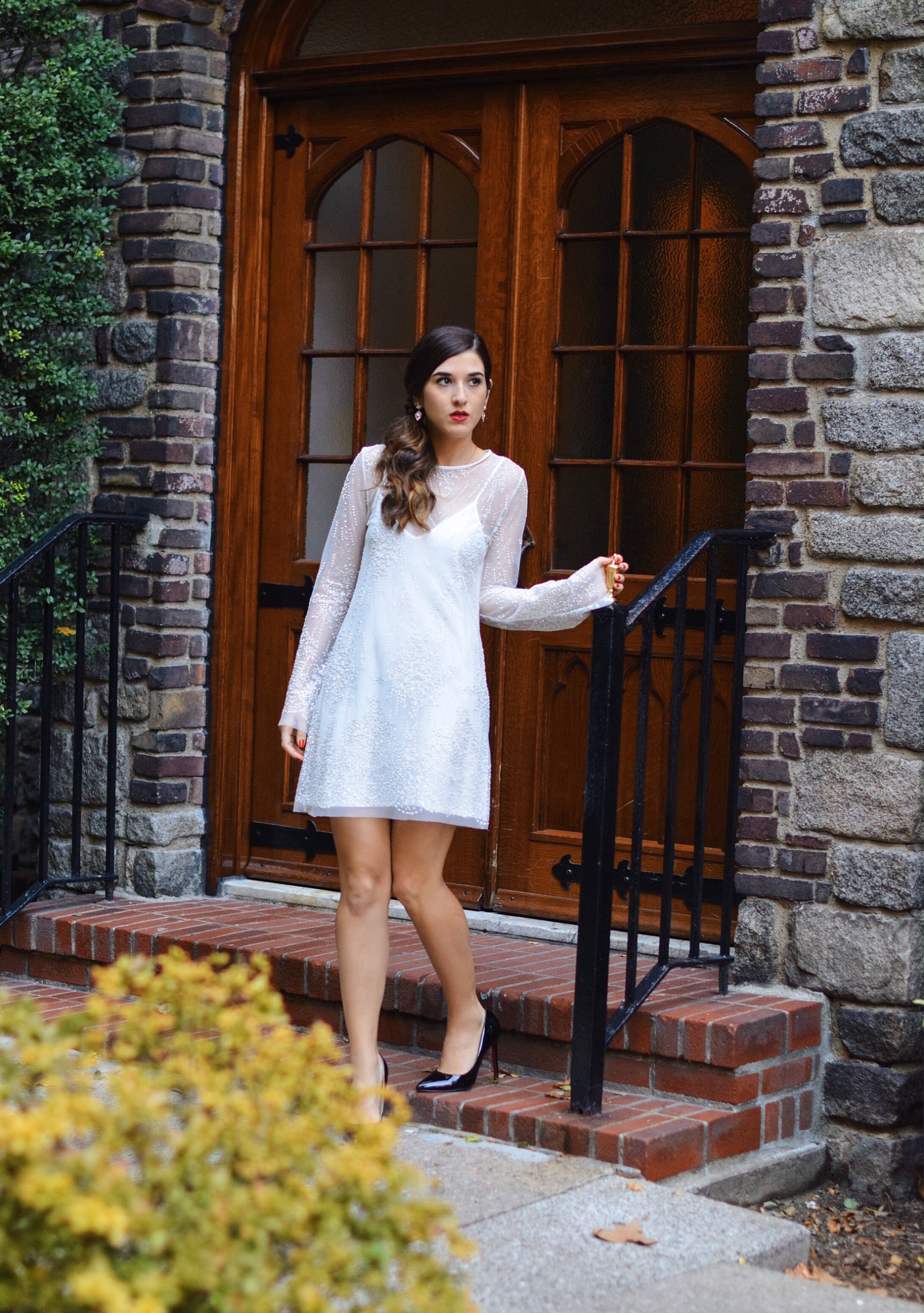 Holiday Look White Glitter Dress Elahn Jewels Louboutins & Love Fashion Blog Esther Santer NYC Street Style Blogger Diamond Rings Earrings Emerald Beautiful Fine Jewelry Girl Women Shopping Model Happiness Boutique  OOTD Outfit Inspo Shoes Black Heels.jpg