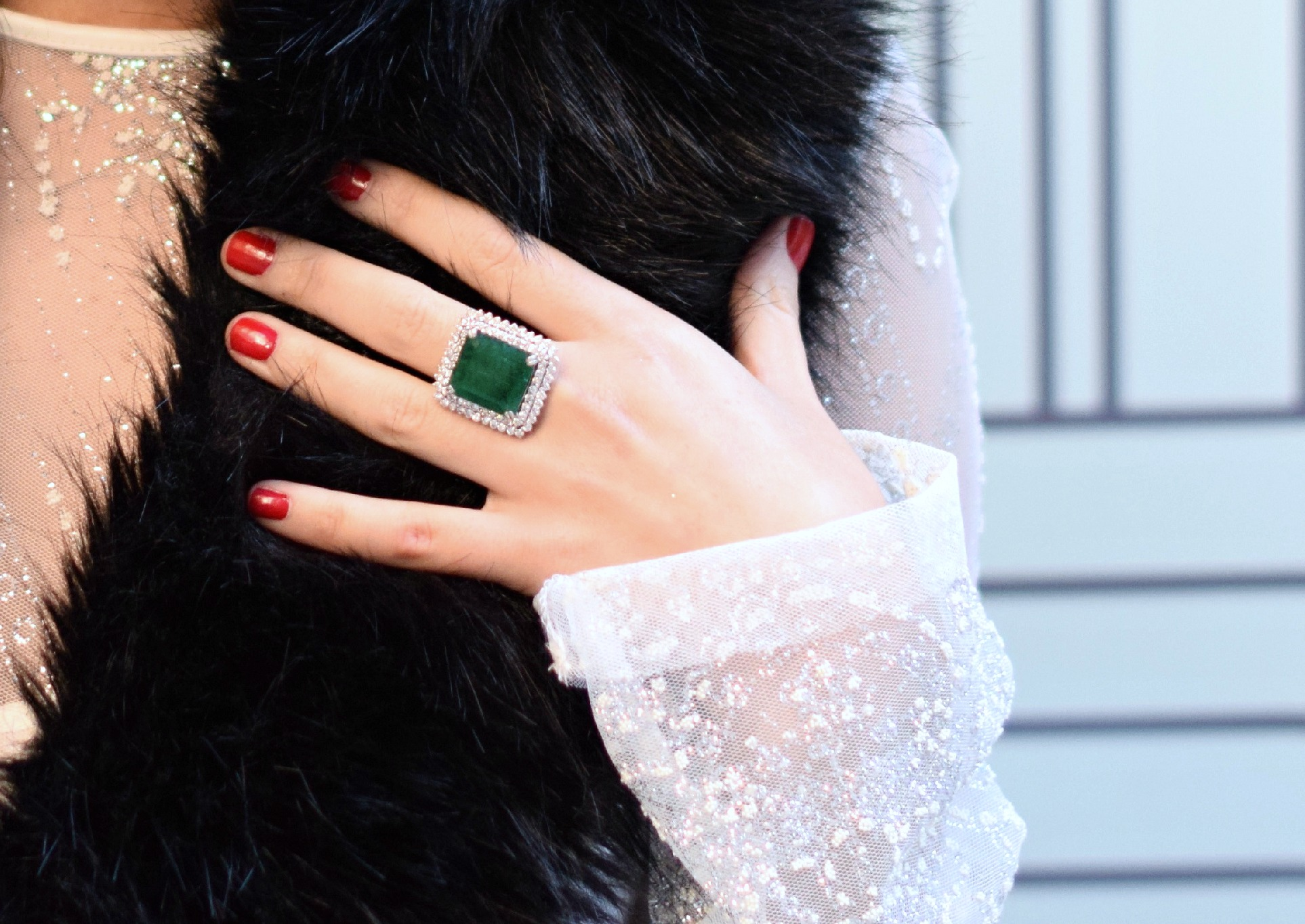Holiday Look White Glitter Dress Elahn Jewels Louboutins & Love Fashion Blog Esther Santer NYC Street Style Blogger Diamond Rings Earrings Emerald Beautiful Fine Jewelry Girl Women Shopping Model Happiness Boutique  Outfit Inspo OOTD Shoes Black Heels.jpg