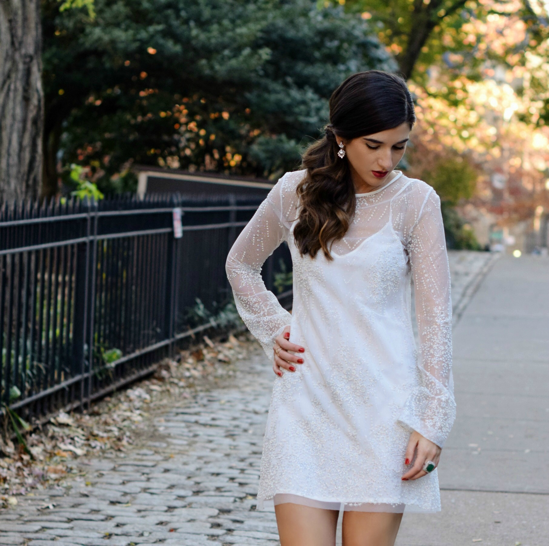 Holiday Look White Glitter Dress Elahn Jewels Louboutins & Love Fashion Blog Esther Santer NYC Street Style Blogger Diamond Rings Happiness Boutique Earrings Emerald Beautiful Fine Jewelry Women Girl Model Outfit Inspo OOTD Shoes Black Heels Shopping.jpg