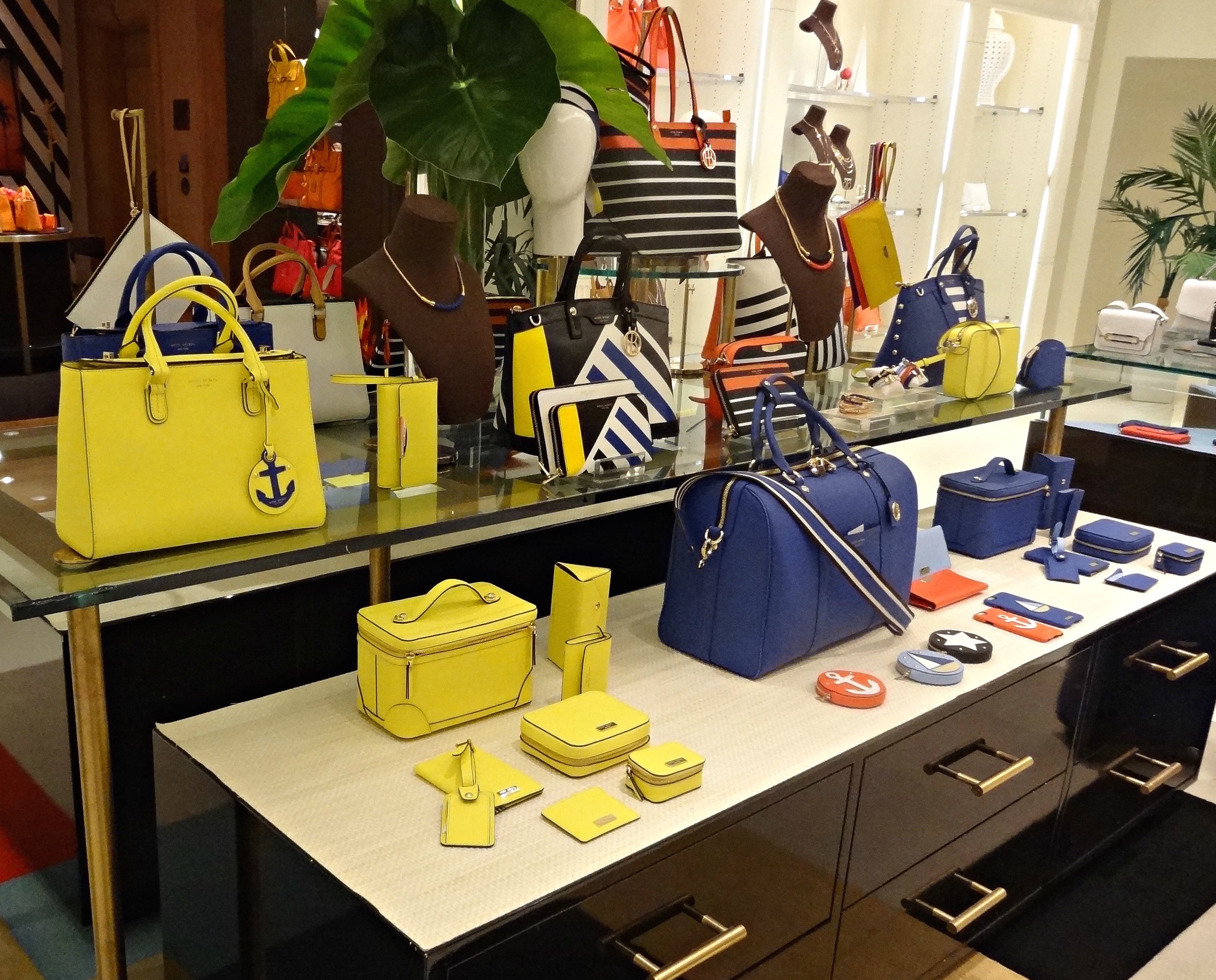 Henri Bendel Summer Spring Preview 2016 Louboutins & Love Fashion Blog Esther Santer Bucket Bag Orange Hot Pink Backpack Purse Structured Bag Wallet Collection Designer OOTD Outfit Stripes Travel Jetsetter Yellow Red Blue Luggage Pom Pom Beach Tote.jpg