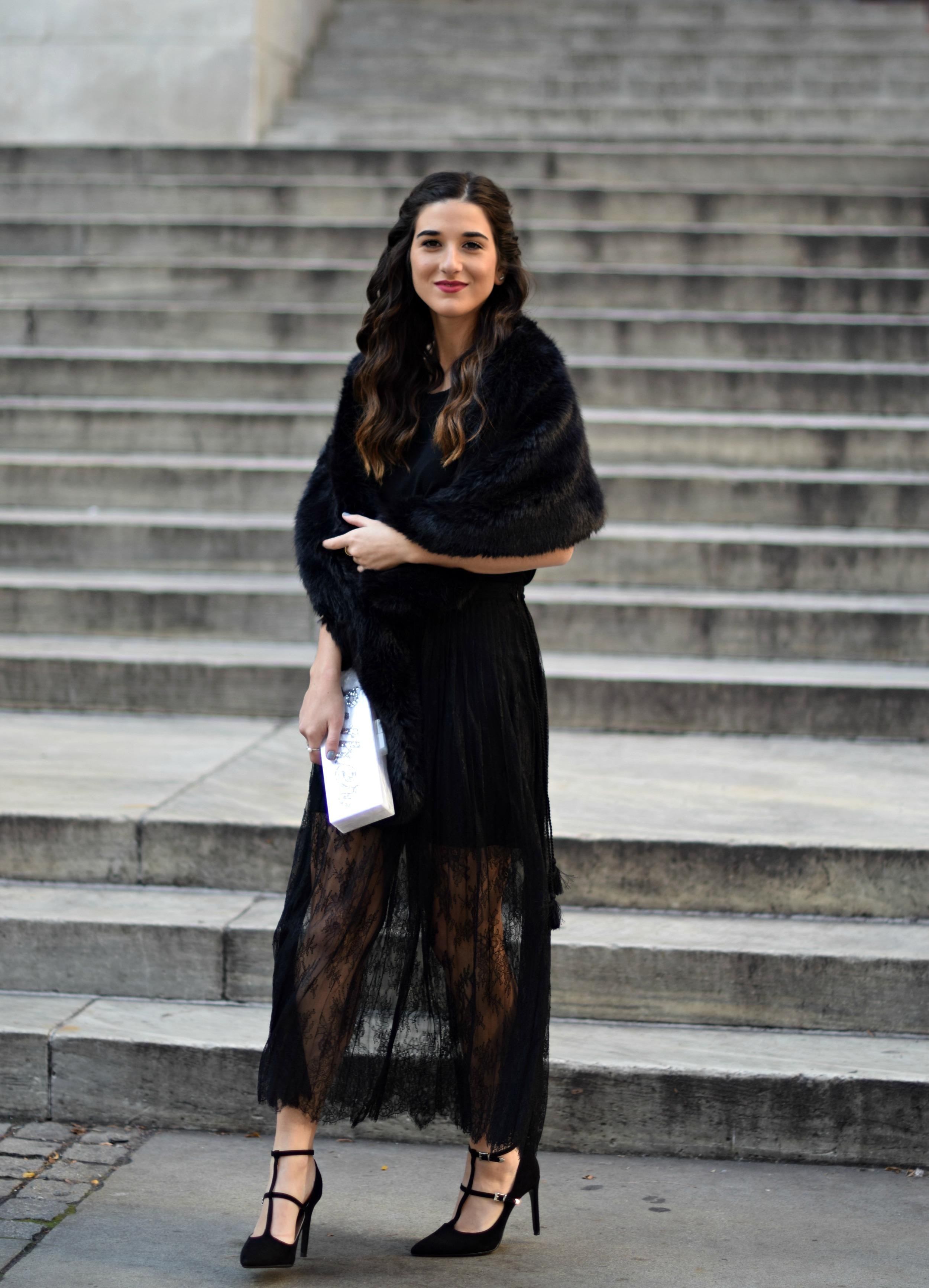 All Black Lace Skirt Fur Stole Louboutins & Love Fashion Blog Esther Santer NYC Street Style Blogger Outfit OOTD Classy Fancy Look Winter Wear Women Girls Monochrome Monogram Clutch Heels Zara Stiletto Beautiful Photoshoot Shoes Shop Inspo Inspiration.jpg