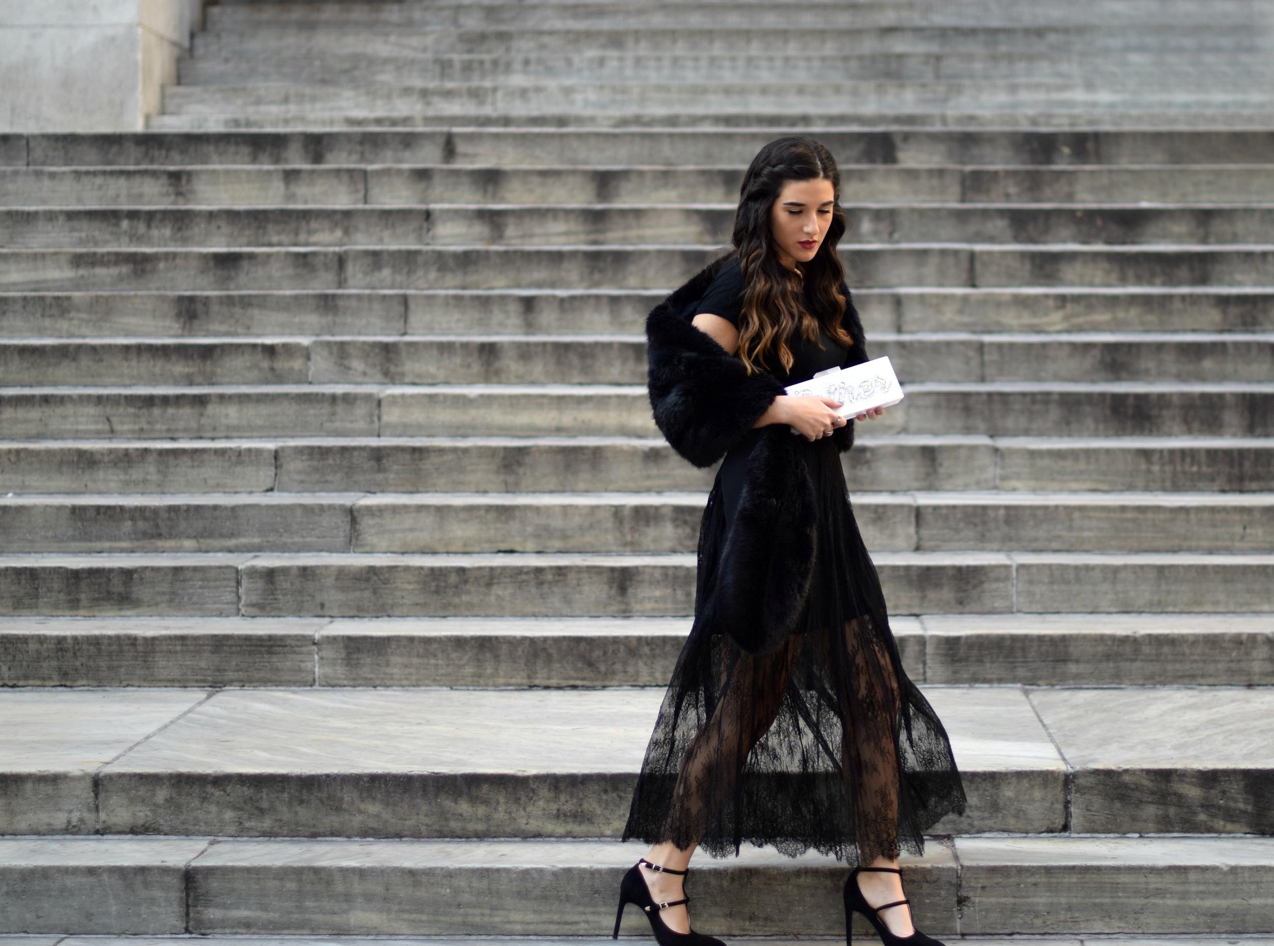 All Black Lace Skirt Fur Stole Louboutins & Love Fashion Blog Esther Santer NYC Street Style Blogger Outfit OOTD Classy Fancy Look Winter Wear Women Girls Monochrome Monogram Clutch Photoshoot Zara Heels Stiletto Beautiful Shop Shoes Inspo Inspiration.jpg