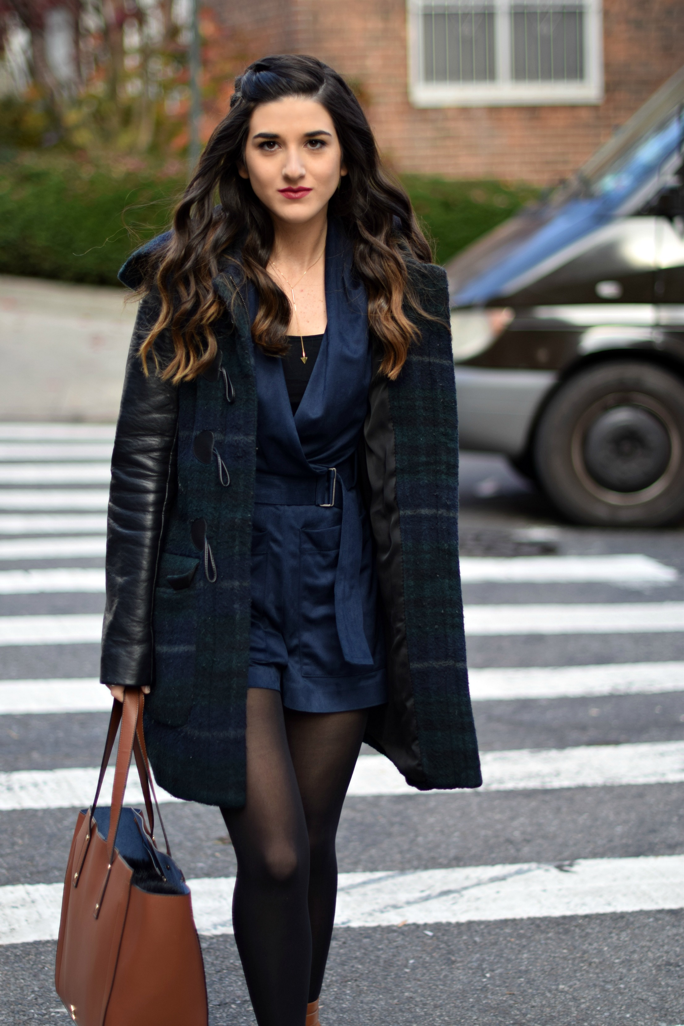 Navy Romper Fringe Booties Louboutins & Love Fashion Blog Esther Santer NYC Street Style Blogger Zara Plaid Coat Leather Sleeves Girl Women OOTD Outfit Accessories Soho Tote Ivanka Trump Black Tights Shoes Boots Winter Hair Braid Inspo Rings Jewelry.jpg