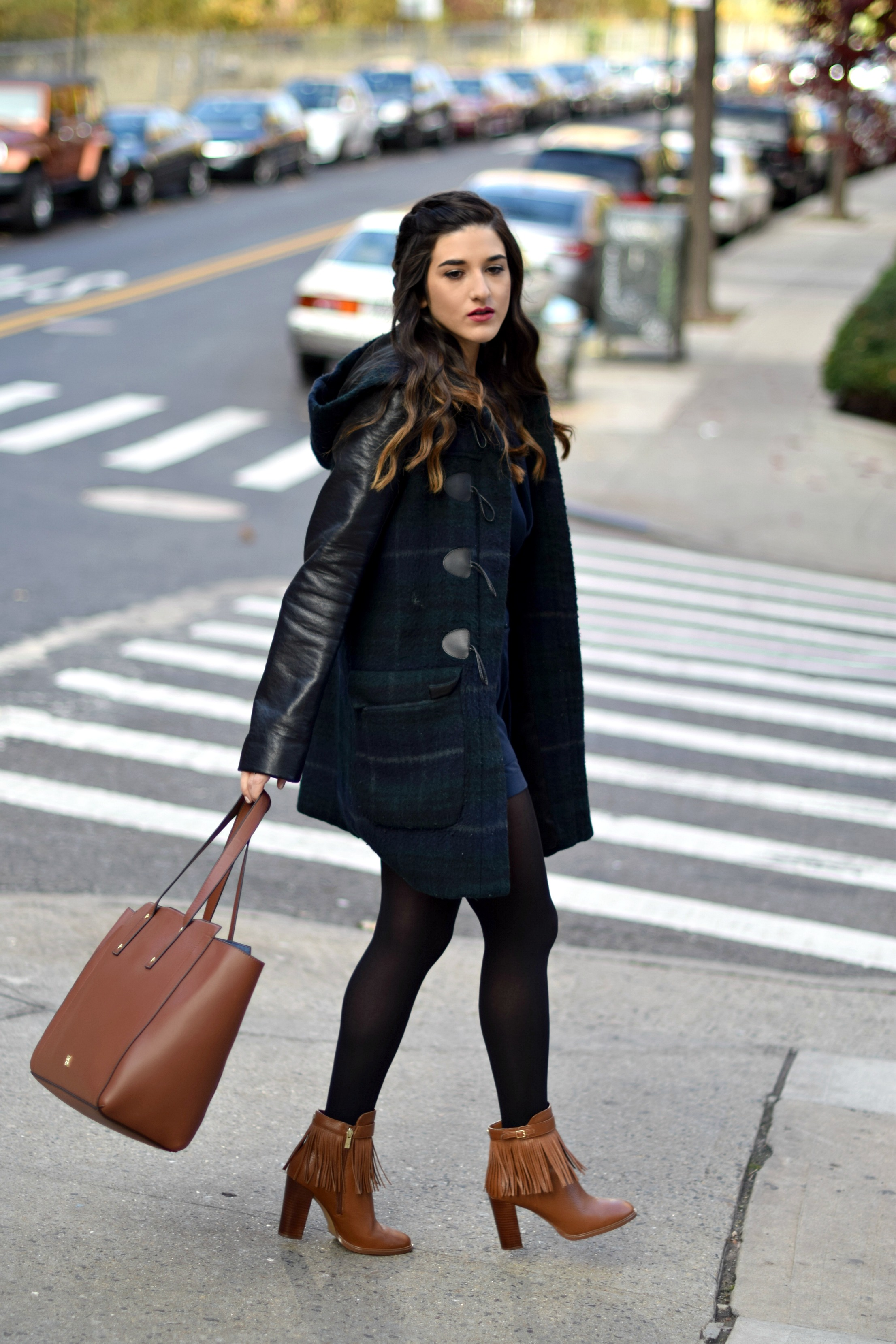 Navy Romper Fringe Booties Louboutins & Love Fashion Blog Esther Santer NYC Street Style Blogger Zara Plaid Coat Leather Sleeves Girl Women OOTD Outfit Soho Tote Ivanka Trump Accessories Shoes Boots Winter Black Tights Hair Braid Inspo Jewelry Rings.jpg