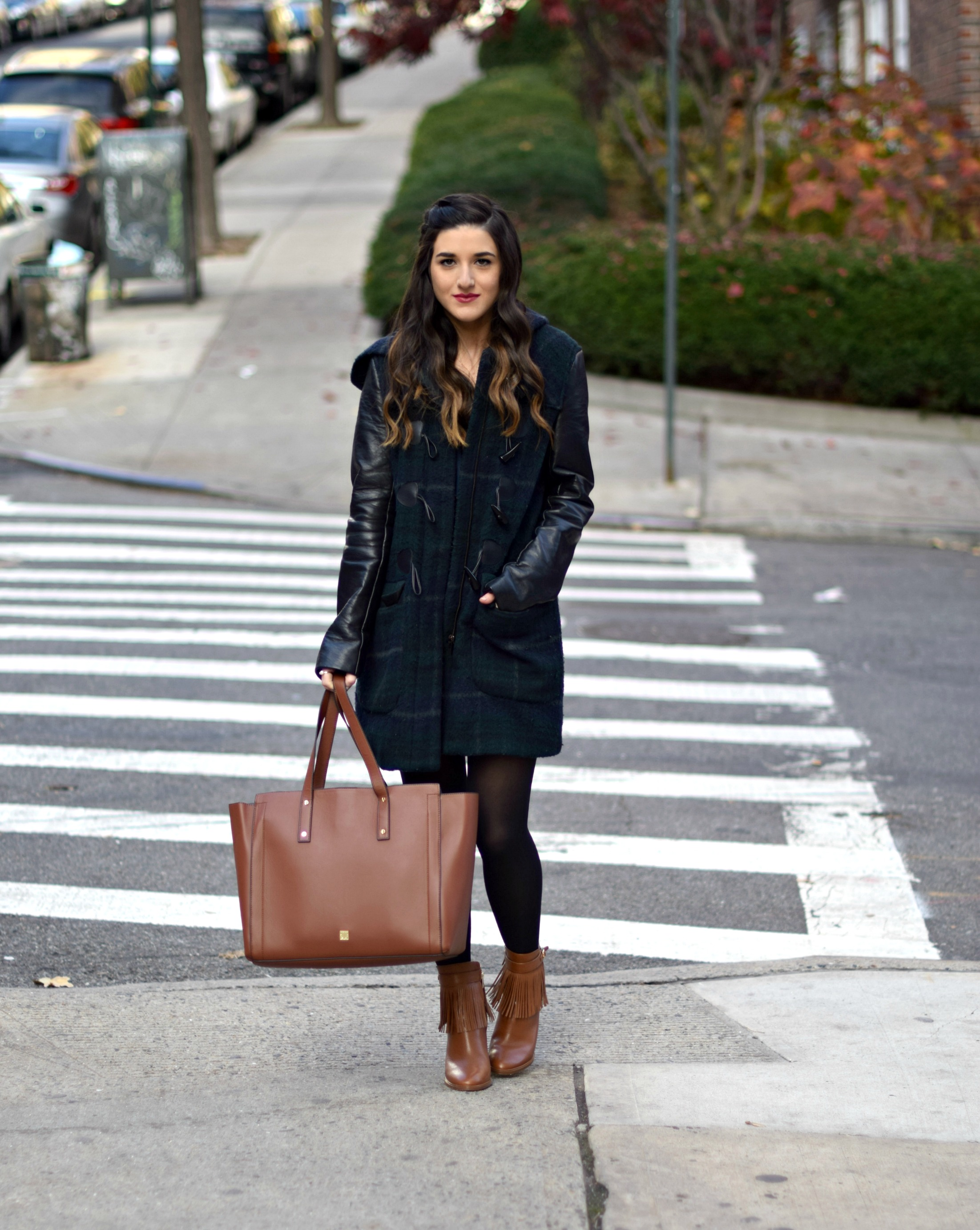 Navy Romper Fringe Booties Louboutins & Love Fashion Blog Esther Santer NYC Street Style Blogger Zara Plaid Coat Leather Sleeves Girl Women OOTD Outfit Soho Tote Ivanka Trump Accessories Shoes Boots Winter Black Tights Inspo Hair Braid Rings Jewelry.jpg