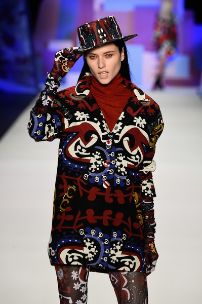 NYFW Desigual Fashion Show Fall:Winter 2016 Louboutins & Love Fashion Blog Esther Santer NYC Street Style Skirt Red Models Collection Hair Beauty Colorful Fun Patterns Inspo Press Event Coverage Photos Details Dress Hat Beautiful Pretty Shop Trends.jpg