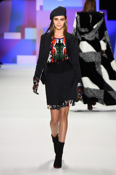 NYFW Desigual Fashion Show Fall:Winter 2016 Louboutins & Love Fashion Blog Esther Santer NYC Street Style Skirt Red Models Collection Hair Beauty Colorful Fun Patterns Inspo Press Event Coverage Photos Details Dress Jacket Beautiful Pretty Beret Trend.jpg