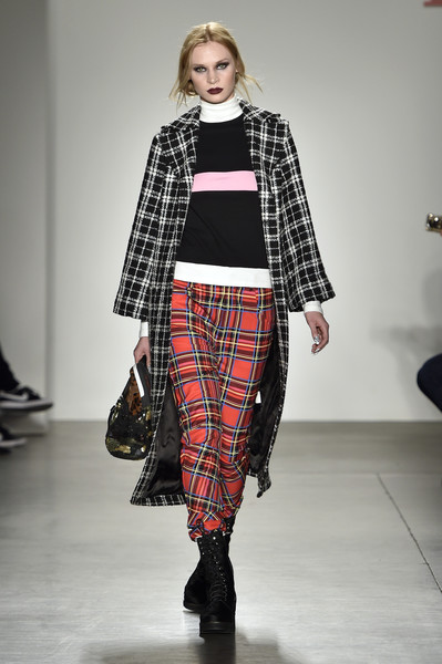 NYFW iijin Fashion Show Fall:Winter 2016 Louboutins & Love Fashion Blog Esther Santer NYC Street Style Skirt Red Models Collection Hair Makeup Beauty Plaid Punk Rock and Roll Pants Fur Trendy Hair Jacket Shirt Outfit Look Boots Shoes Black White Bag.jpg
