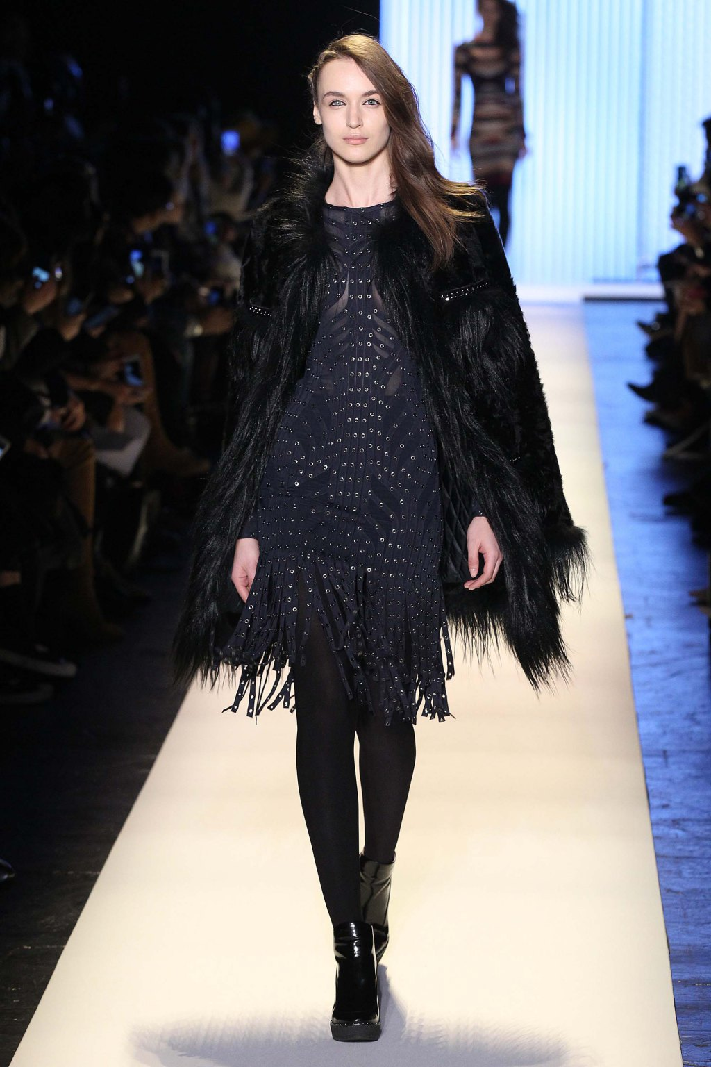 NYFW Hervé Léger Fashion Show Fall:Winter 2016 Louboutins & Love Fashion Blog Esther Santer NYC Street Style Models Collection Hair Makeup Bandage Dresses Pretty Fringe Pink Trends White Hair Inspo Event Press Coverage Details Photos Jacket Outfit.jpg