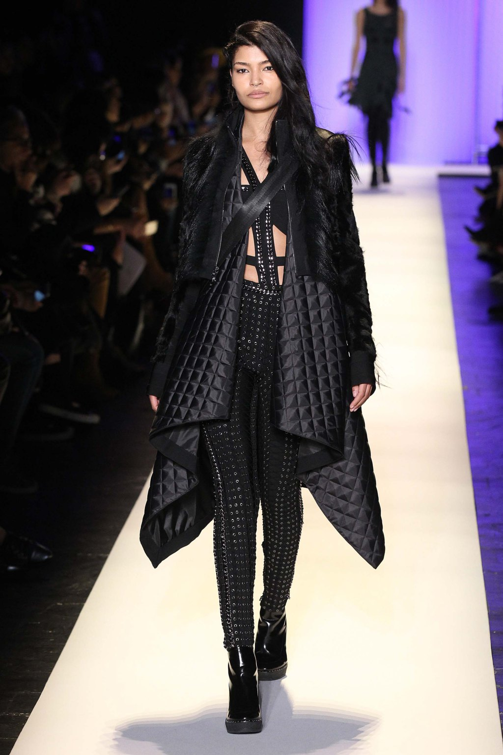 NYFW Hervé Léger Fashion Show Fall:Winter 2016 Louboutins & Love Fashion Blog Esther Santer NYC Street Style Models Collection Hair Makeup Bandage Dresses Pretty Trends Fringe Pink White Inspo Press Event Coverage Details Photos Jacket Hair Outfit .jpg